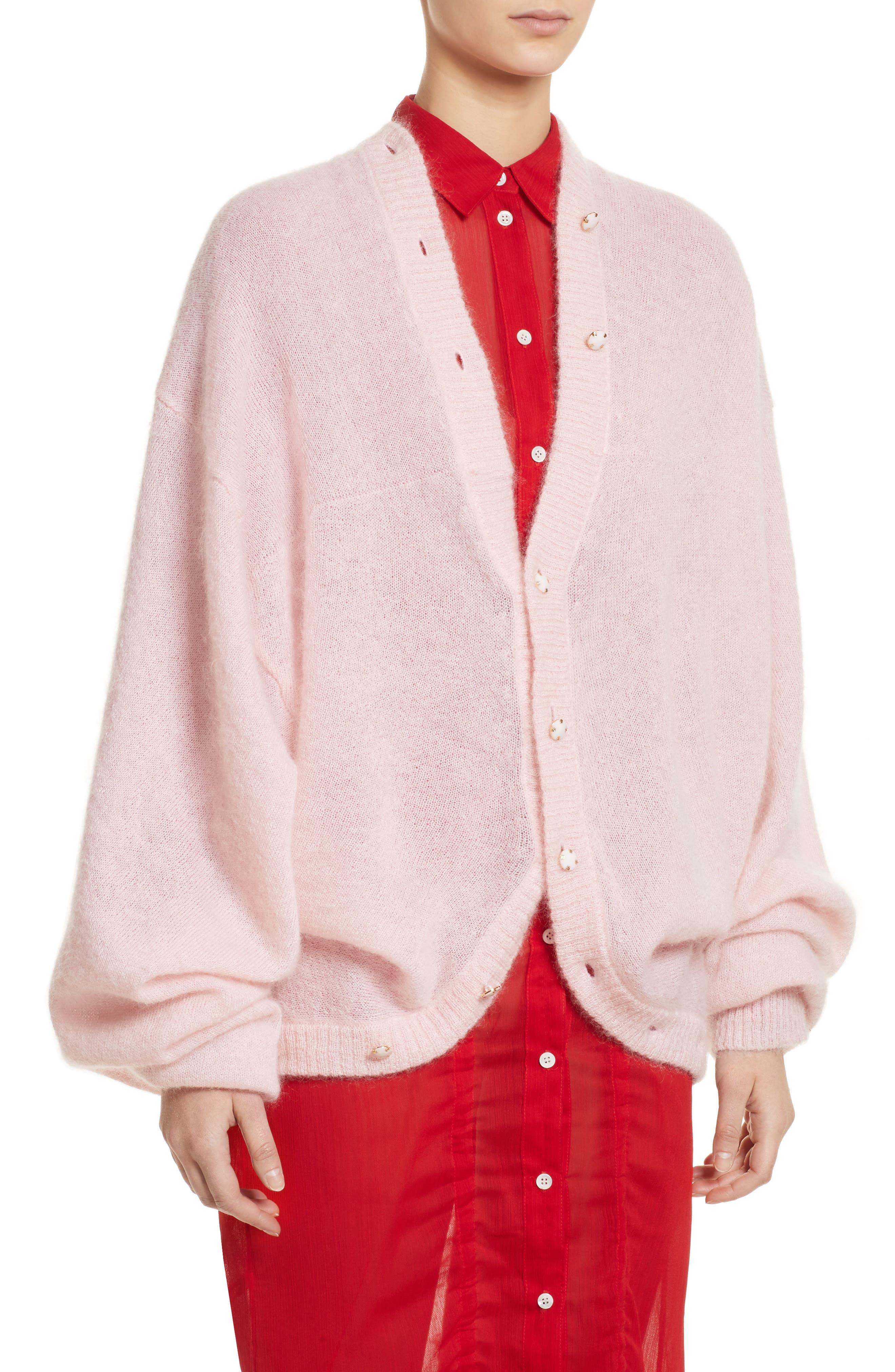 Drape Cardigan,                             Alternate thumbnail 5, color,                             Pink