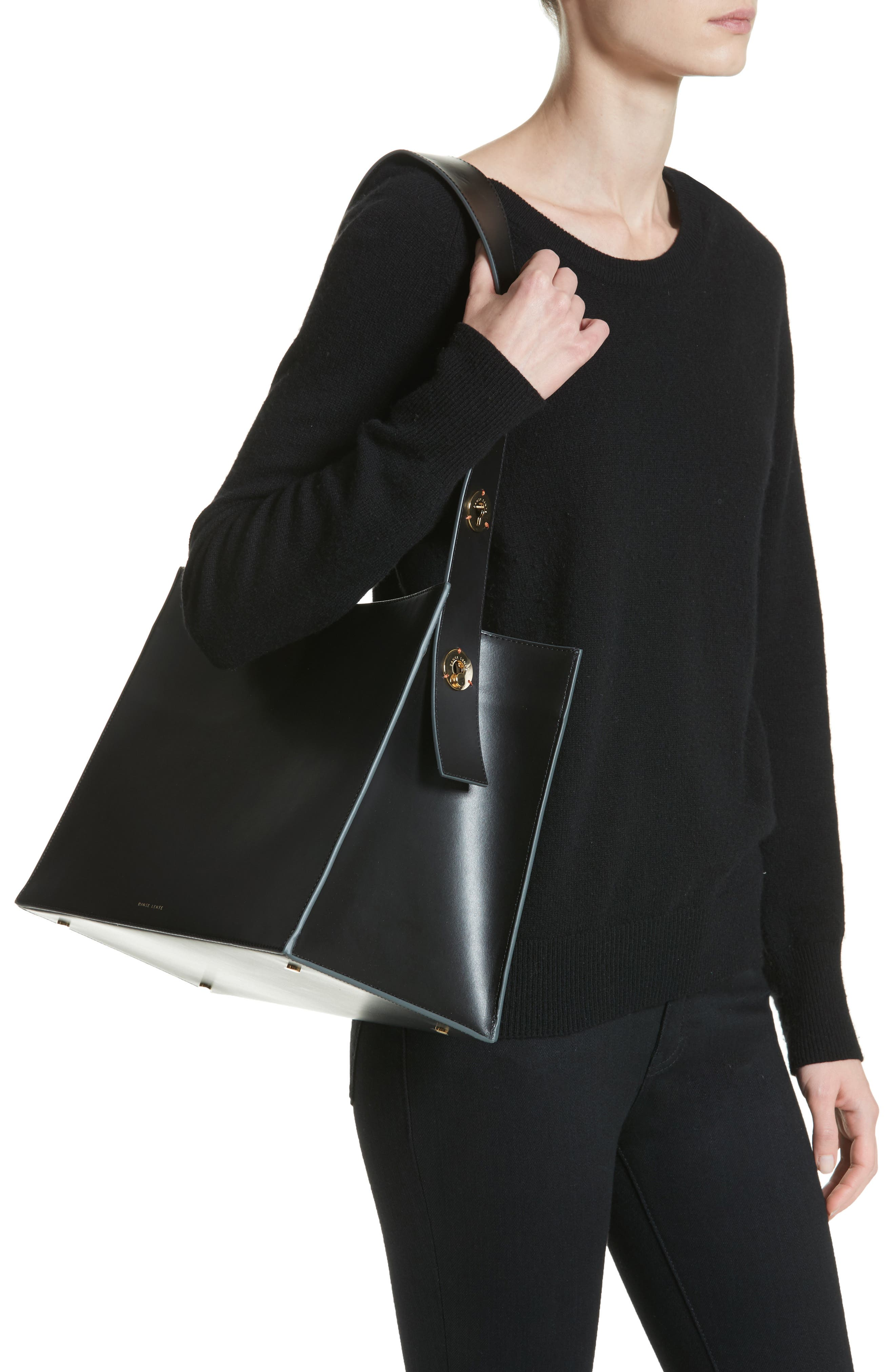 Young Leather Tote Bag,                             Alternate thumbnail 2, color,                             Black