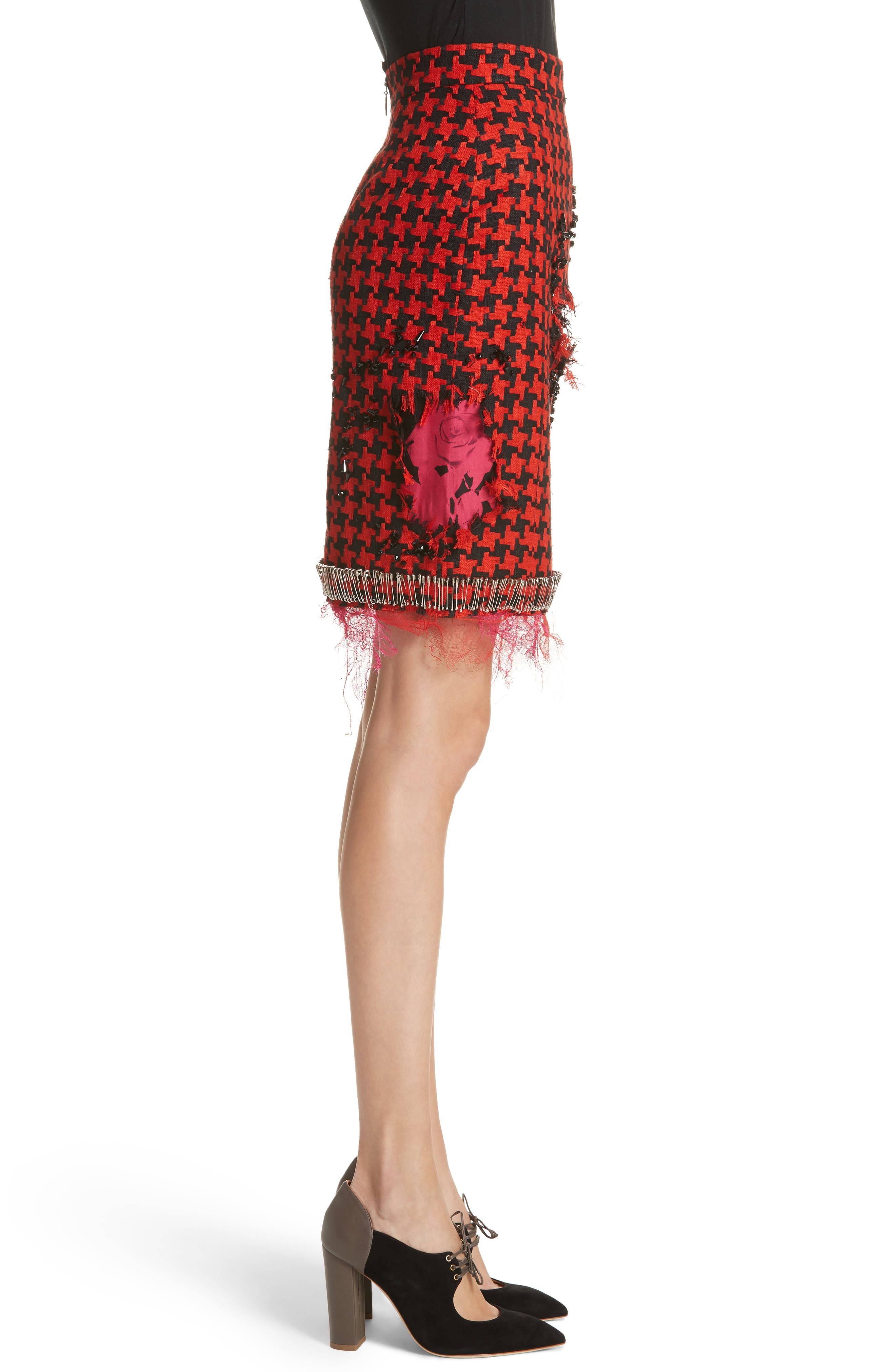 Prime Minister Houndstooth Wool Skirt,                             Alternate thumbnail 3, color,                             Red