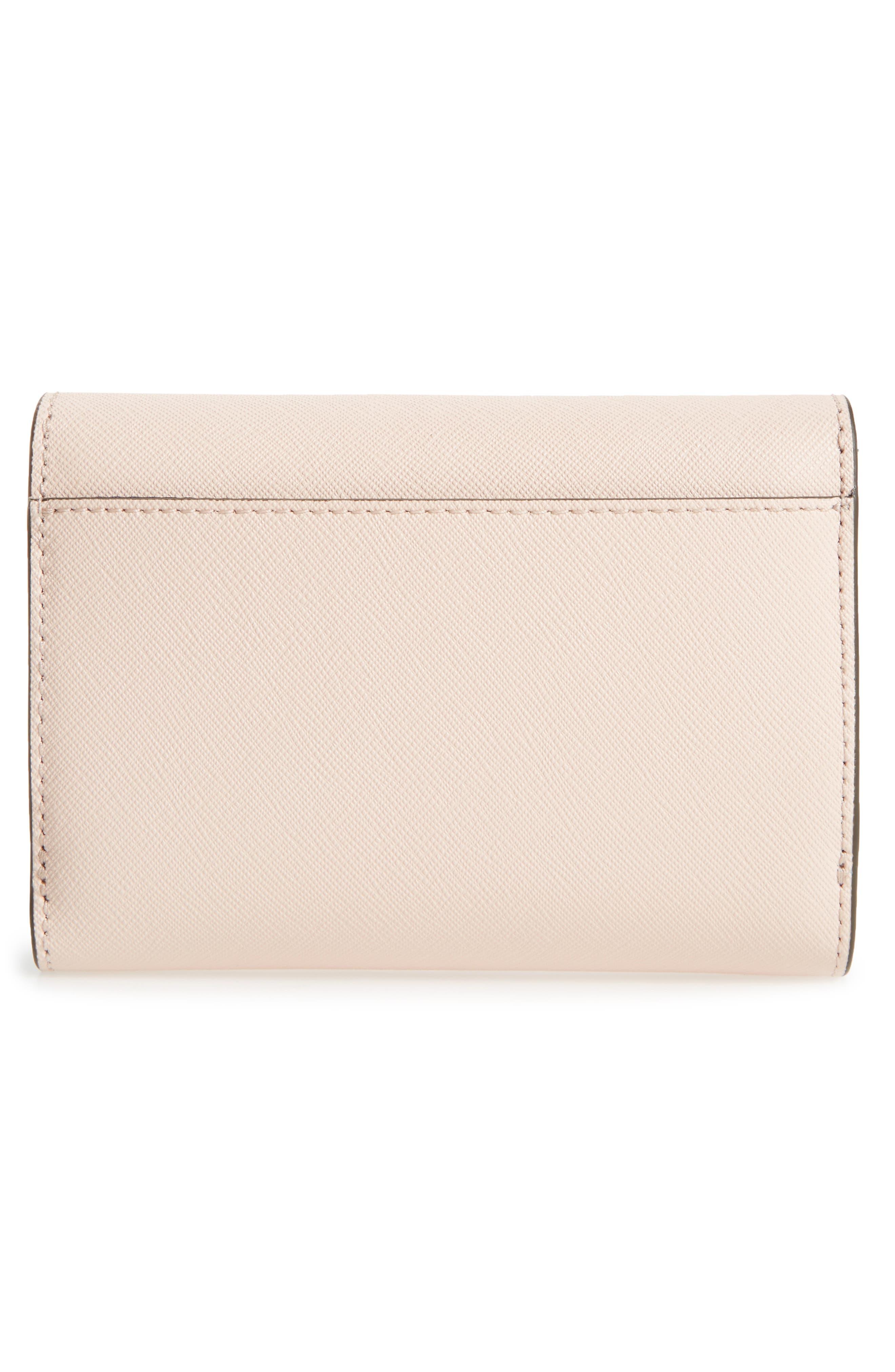 Robinson Medium Leather Wallet,                             Alternate thumbnail 4, color,                             Pale Apricot / Royal Navy