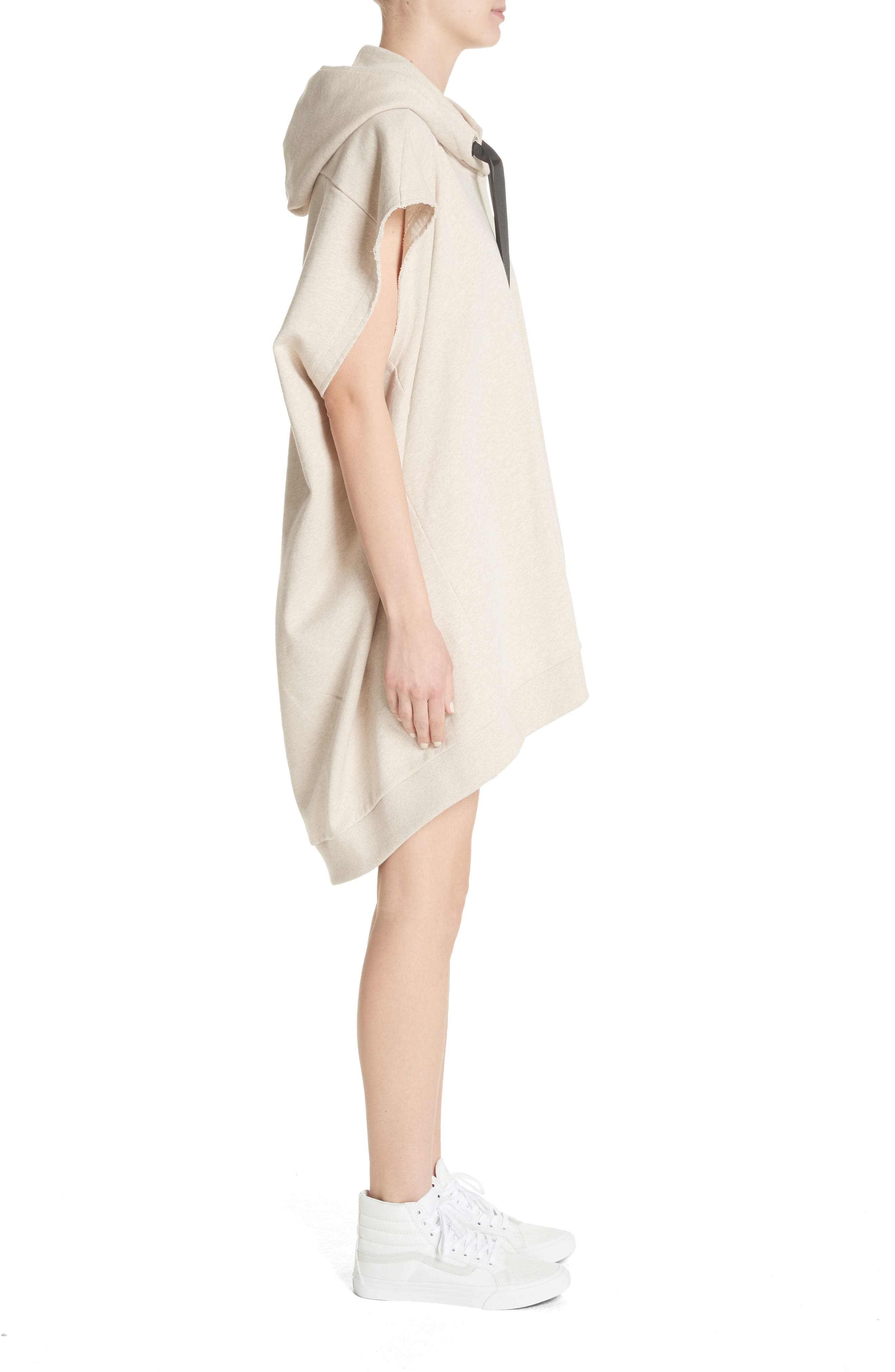 Marques'Almeida Asymmetrical Cap Sleeve Hoodie,                             Alternate thumbnail 3, color,                             Beige Melange