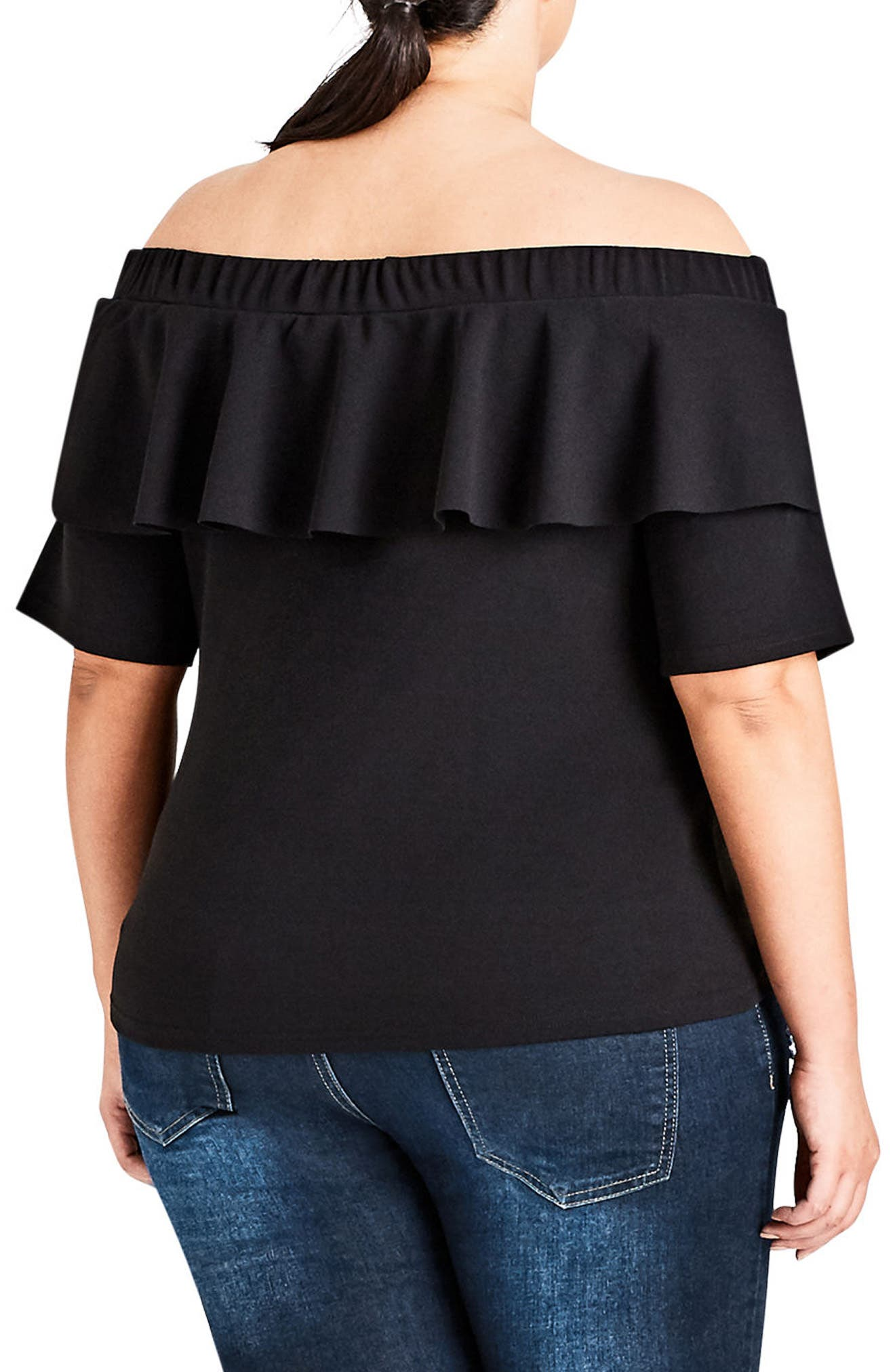 Off The Shoulder Ruffle Top,                             Alternate thumbnail 2, color,                             Black