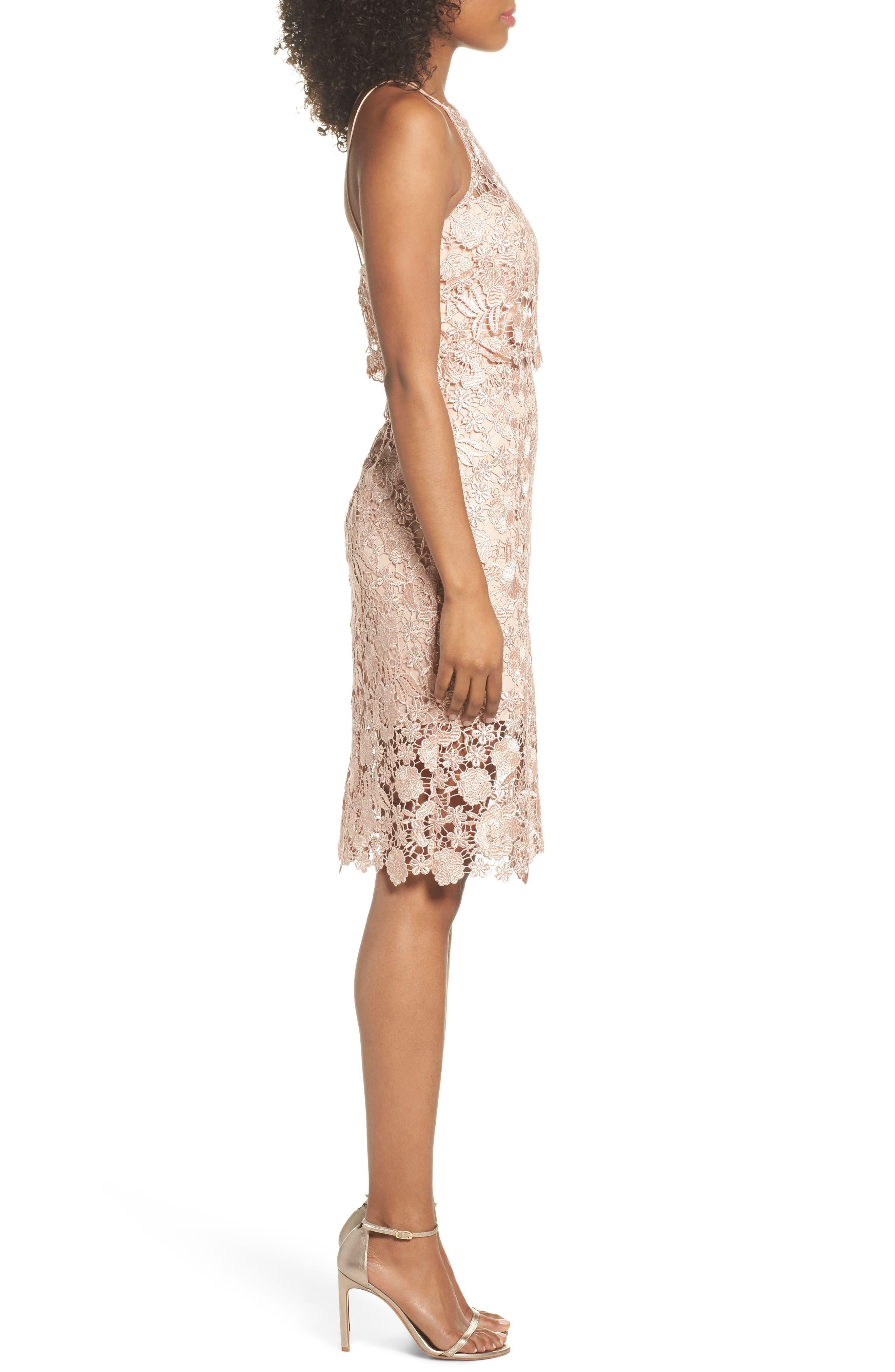 Freya Lace Sheath Dress,                             Alternate thumbnail 3, color,                             Cameo Pink