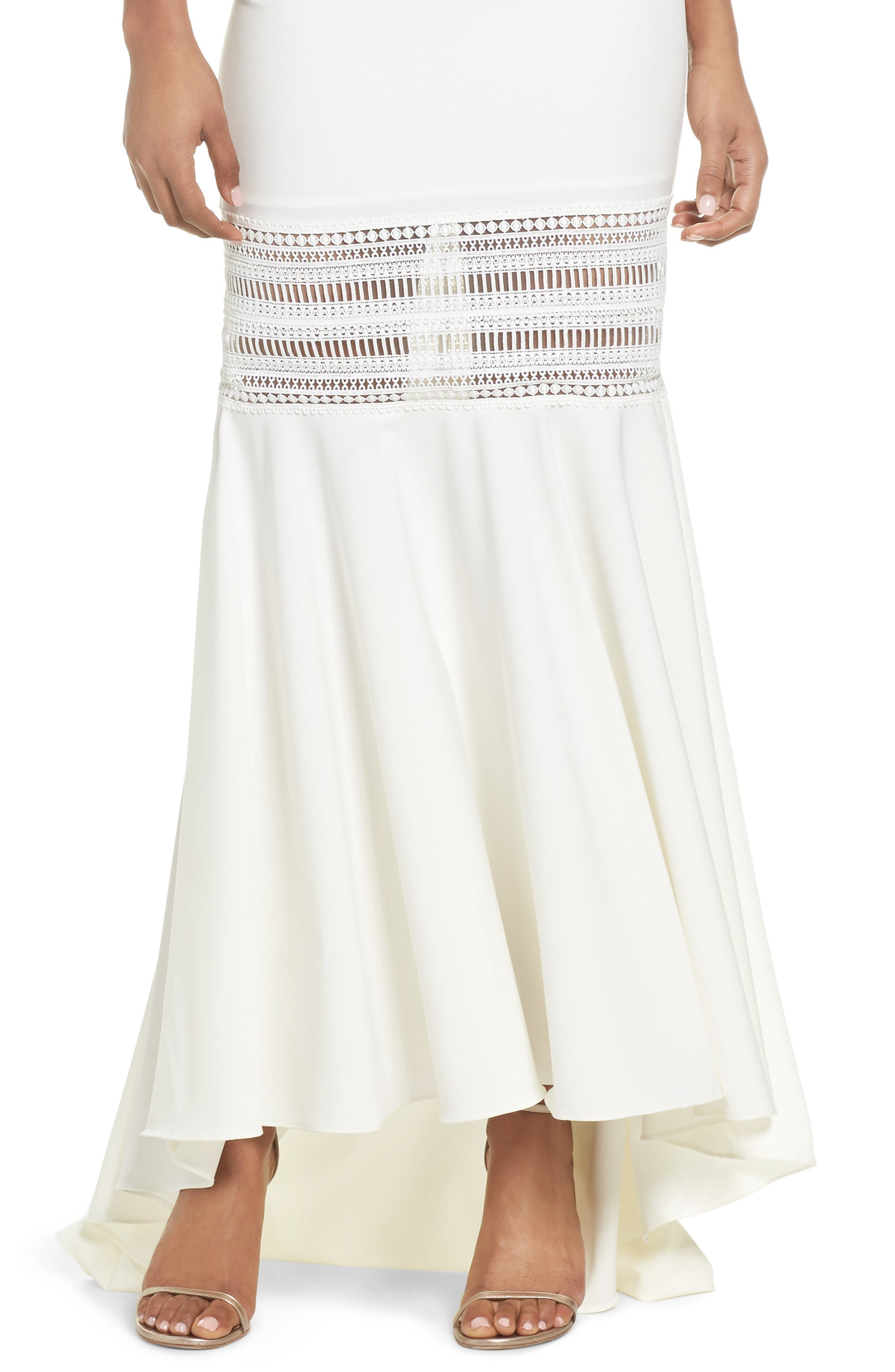 Clarity Openwork Inset Mermaid Gown,                             Alternate thumbnail 4, color,                             Ivory