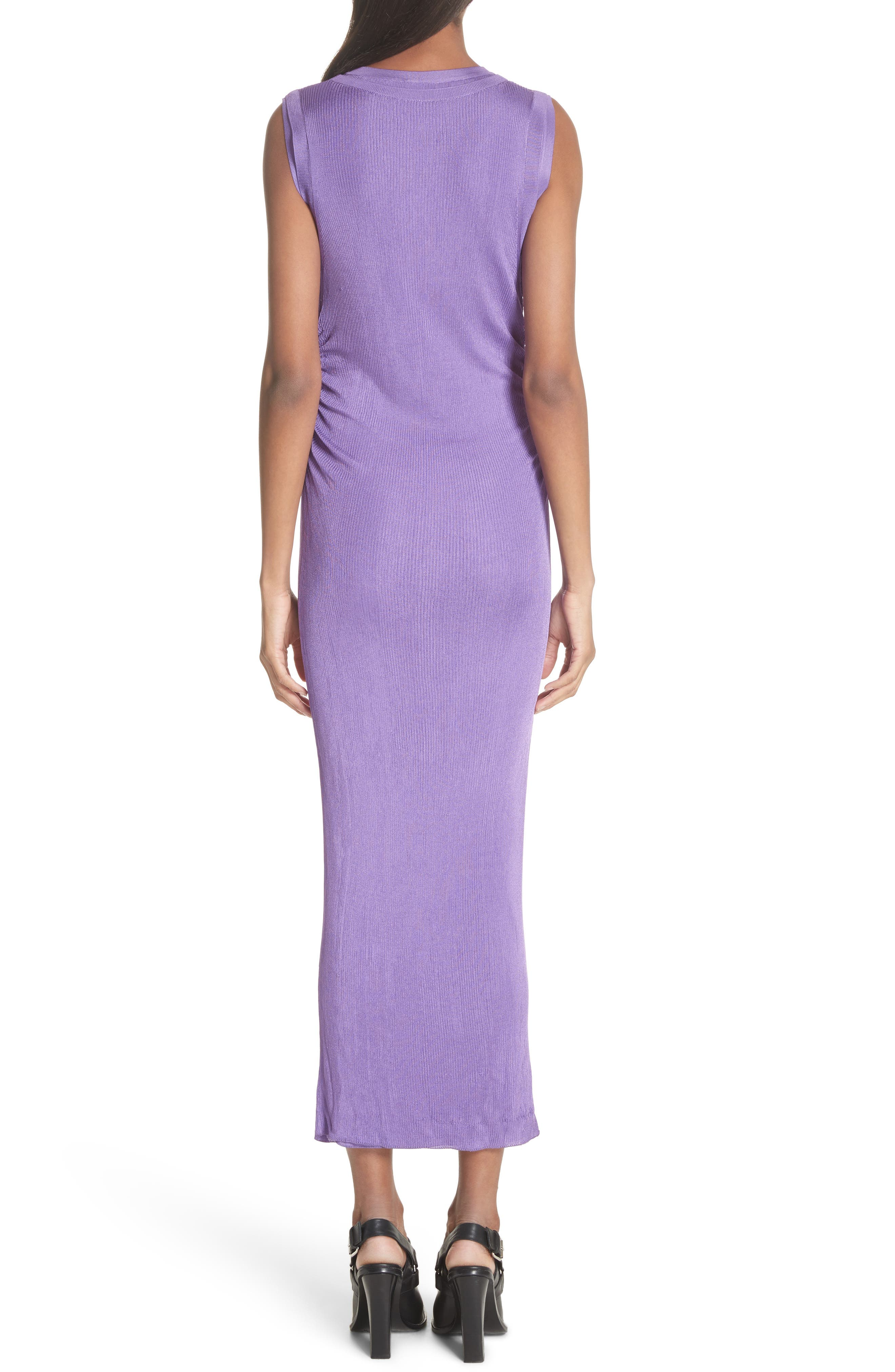 Ruched Side Layered Rib Knit Dress,                             Alternate thumbnail 2, color,                             Lilas