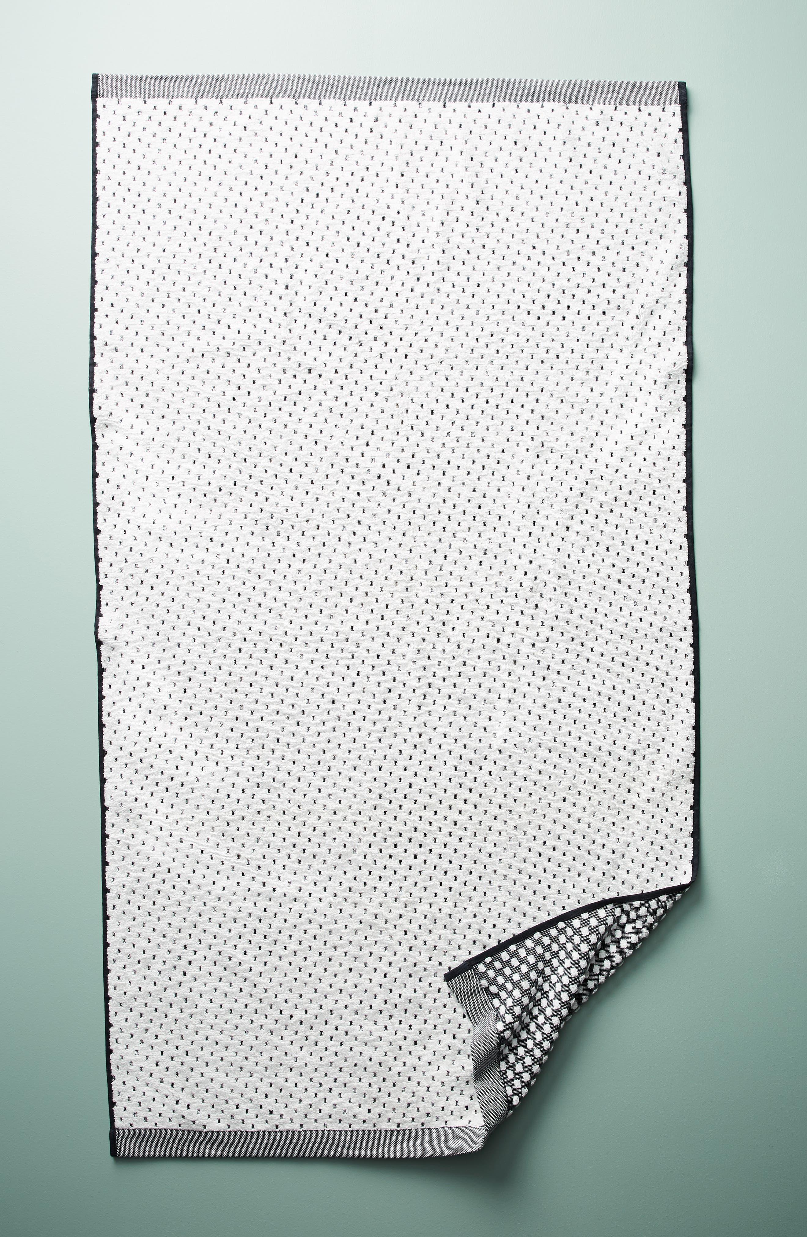 Dot Jacquard Bath Towel,                         Main,                         color, Black
