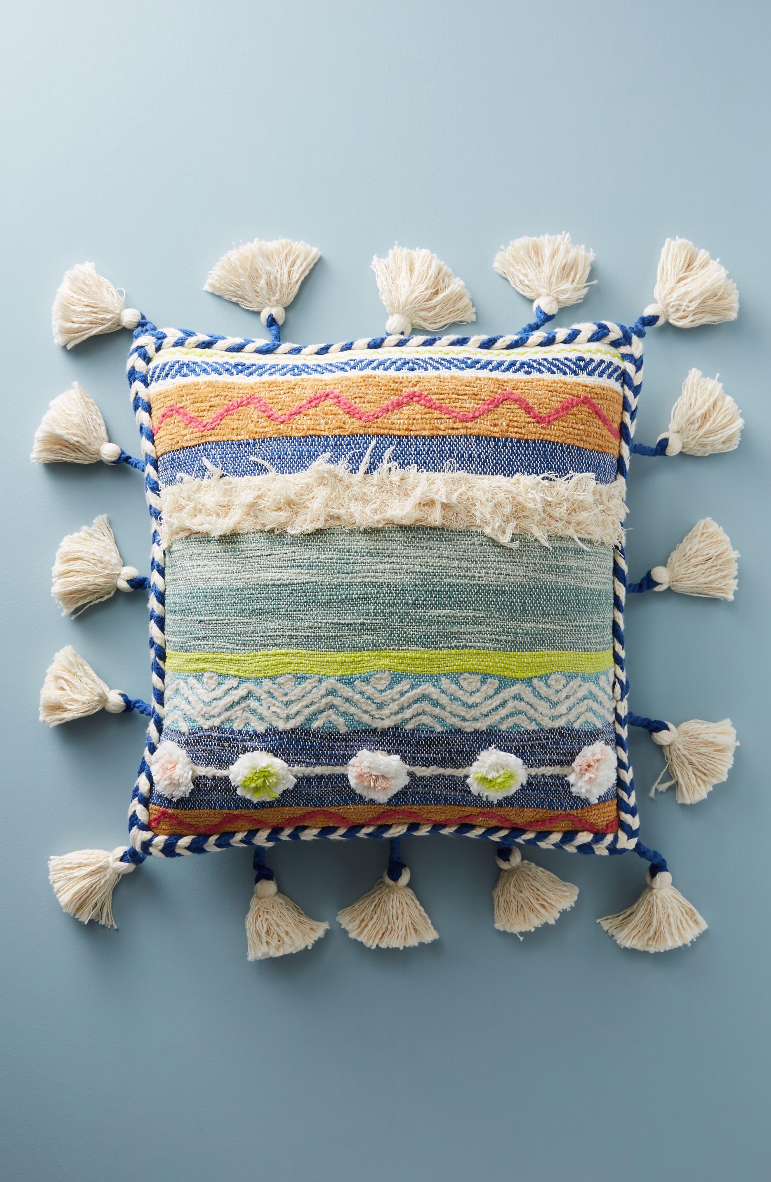 Woven Rami Accent Pillow,                         Main,                         color, Blue Combo