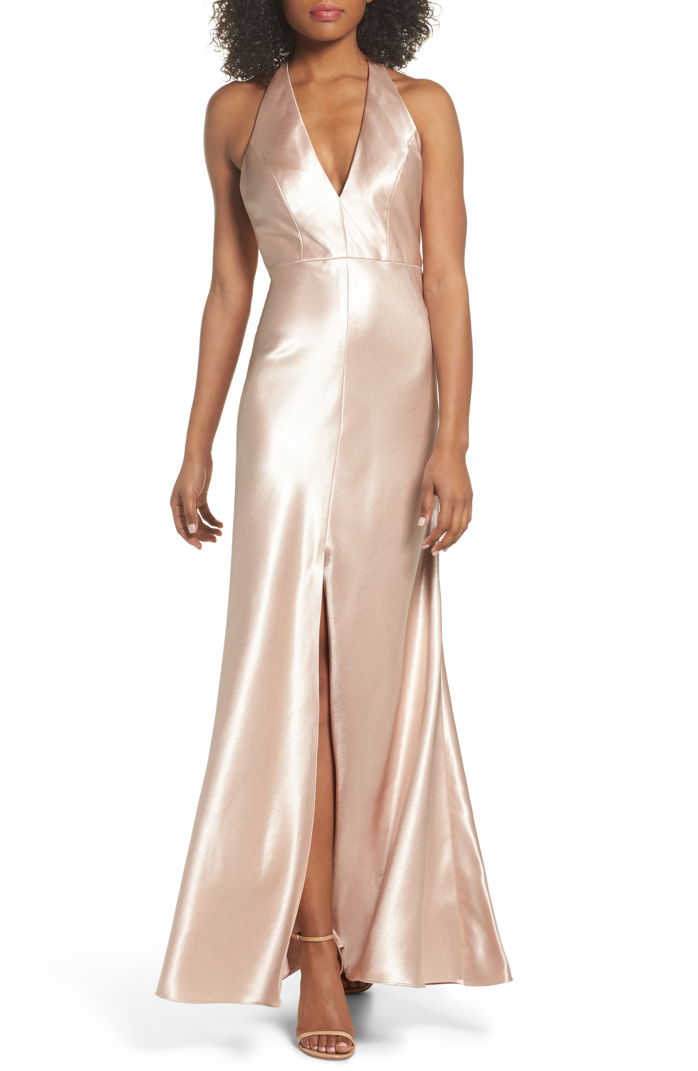 Corrine Satin Crepe Halter Gown,                             Main thumbnail 1, color,                             Petal