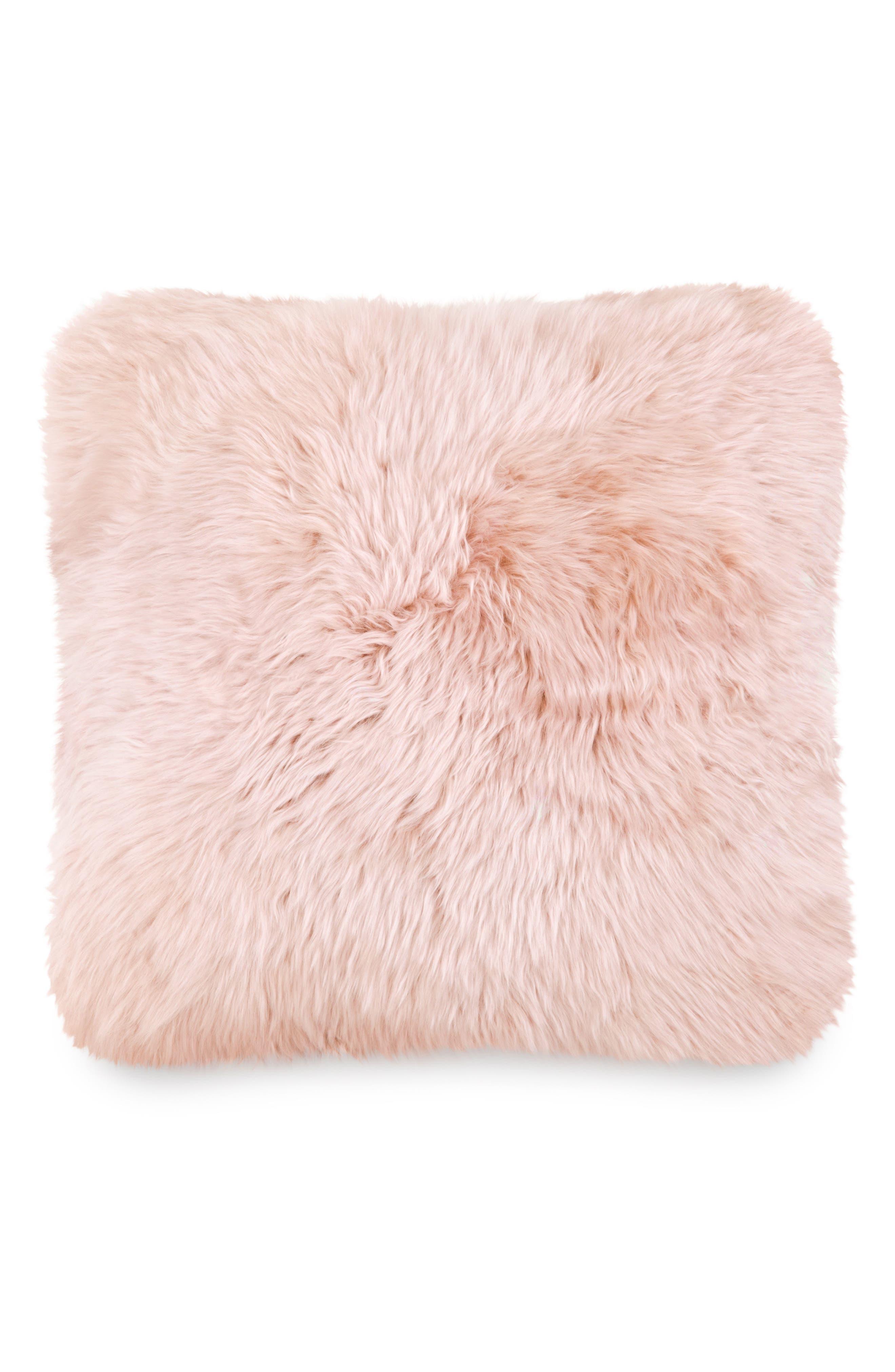 Genuine Sheepskin Accent Pillow,                         Main,                         color, Blush