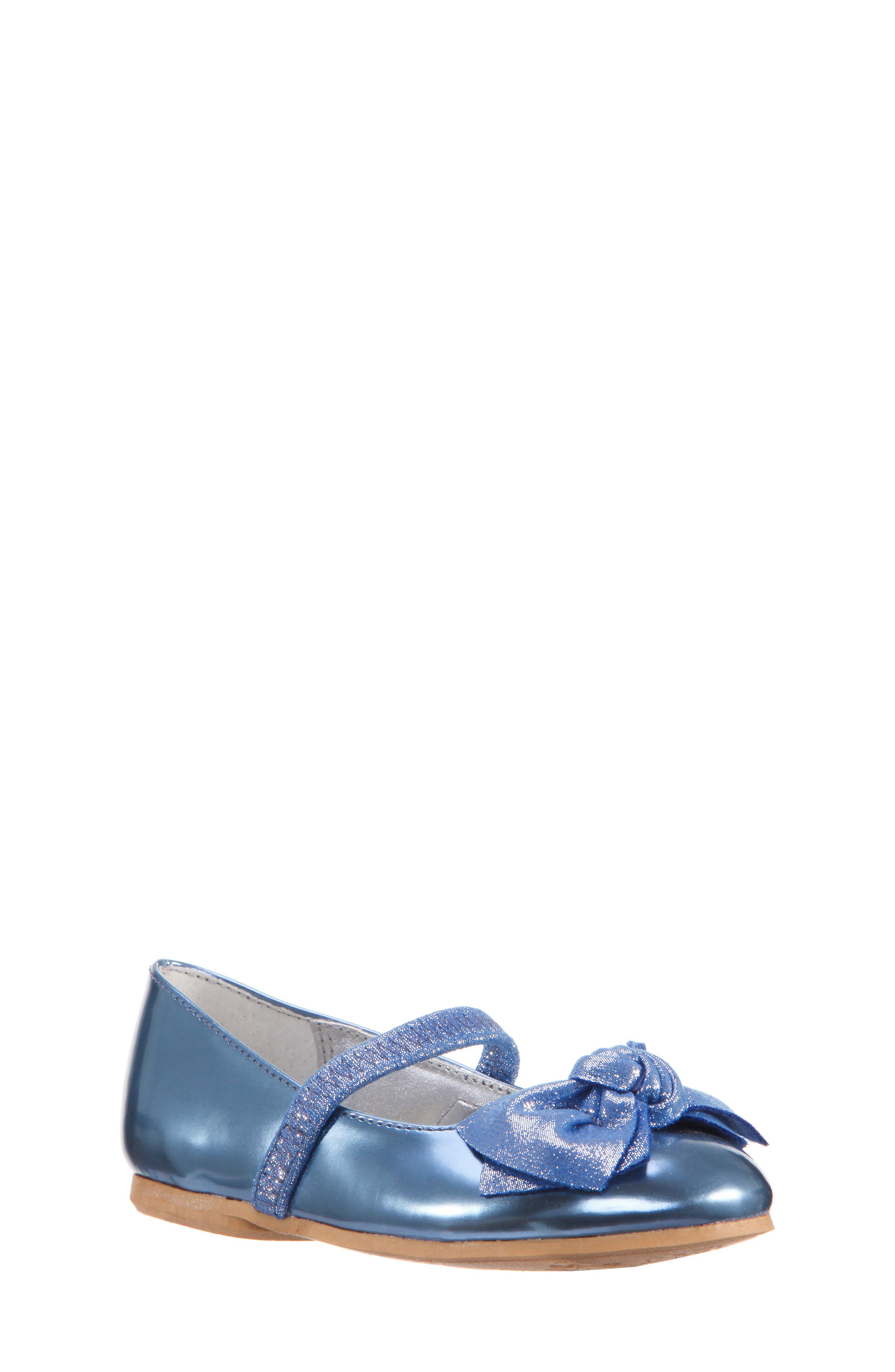 Kaytelyn-T Glitter Bow Ballet Flat,                         Main,                         color, Blue Mirror Metallic