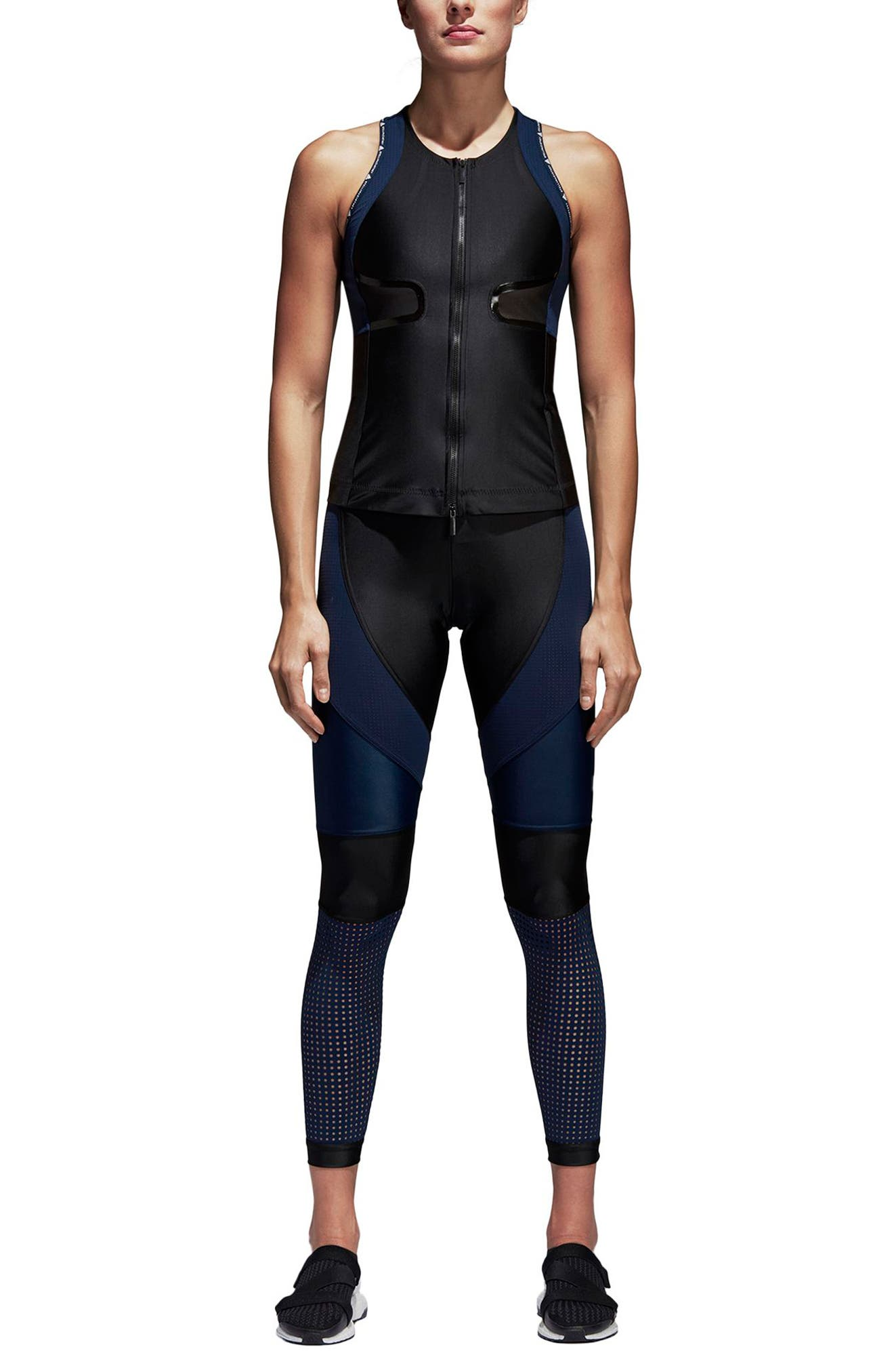 Run Crop Climalite<sup>®</sup> Tights,                             Alternate thumbnail 7, color,                             Black/ Collegiate Navy