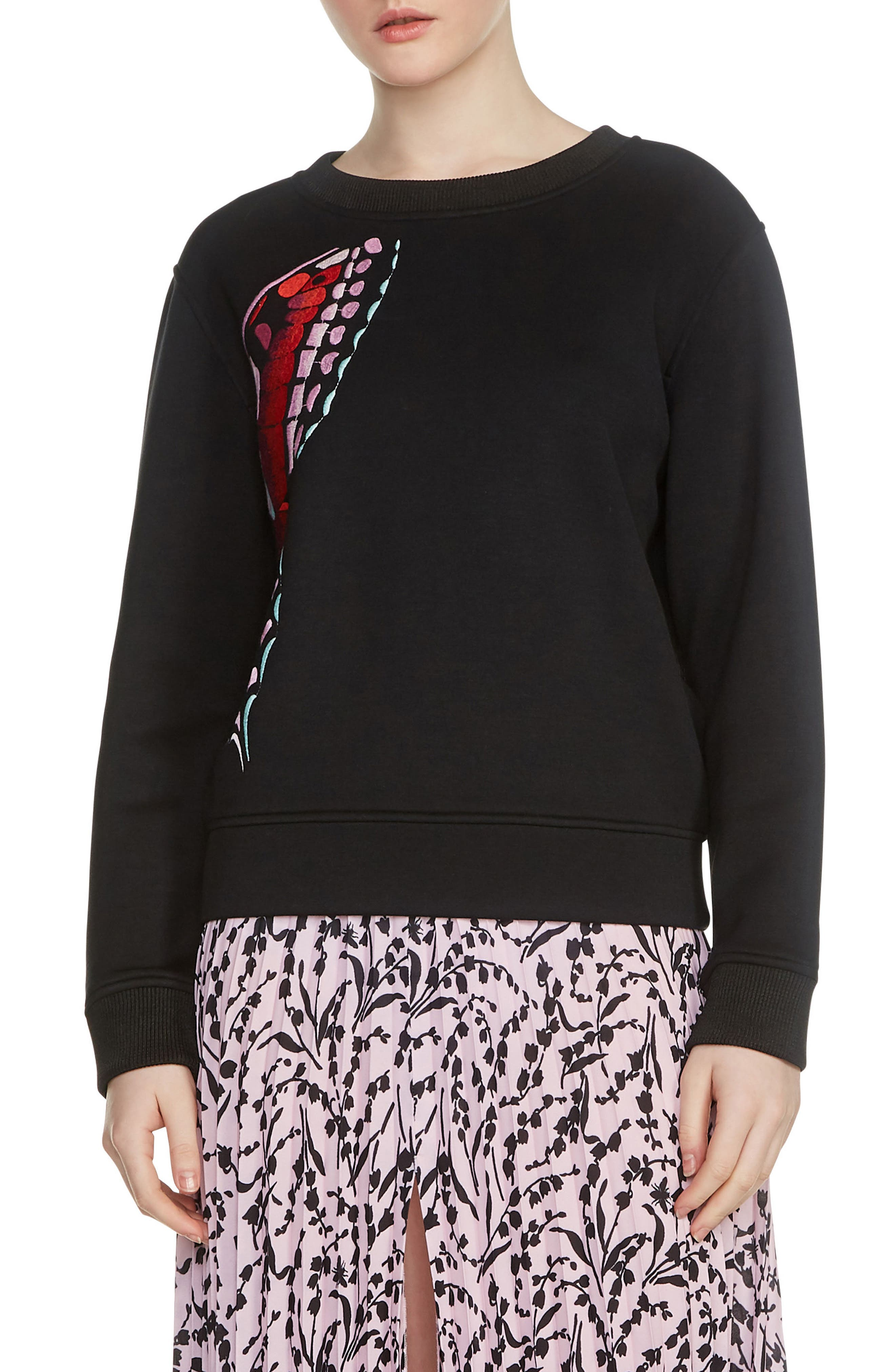 Theophile Embroidered Sweatshirt,                         Main,                         color, Black 210