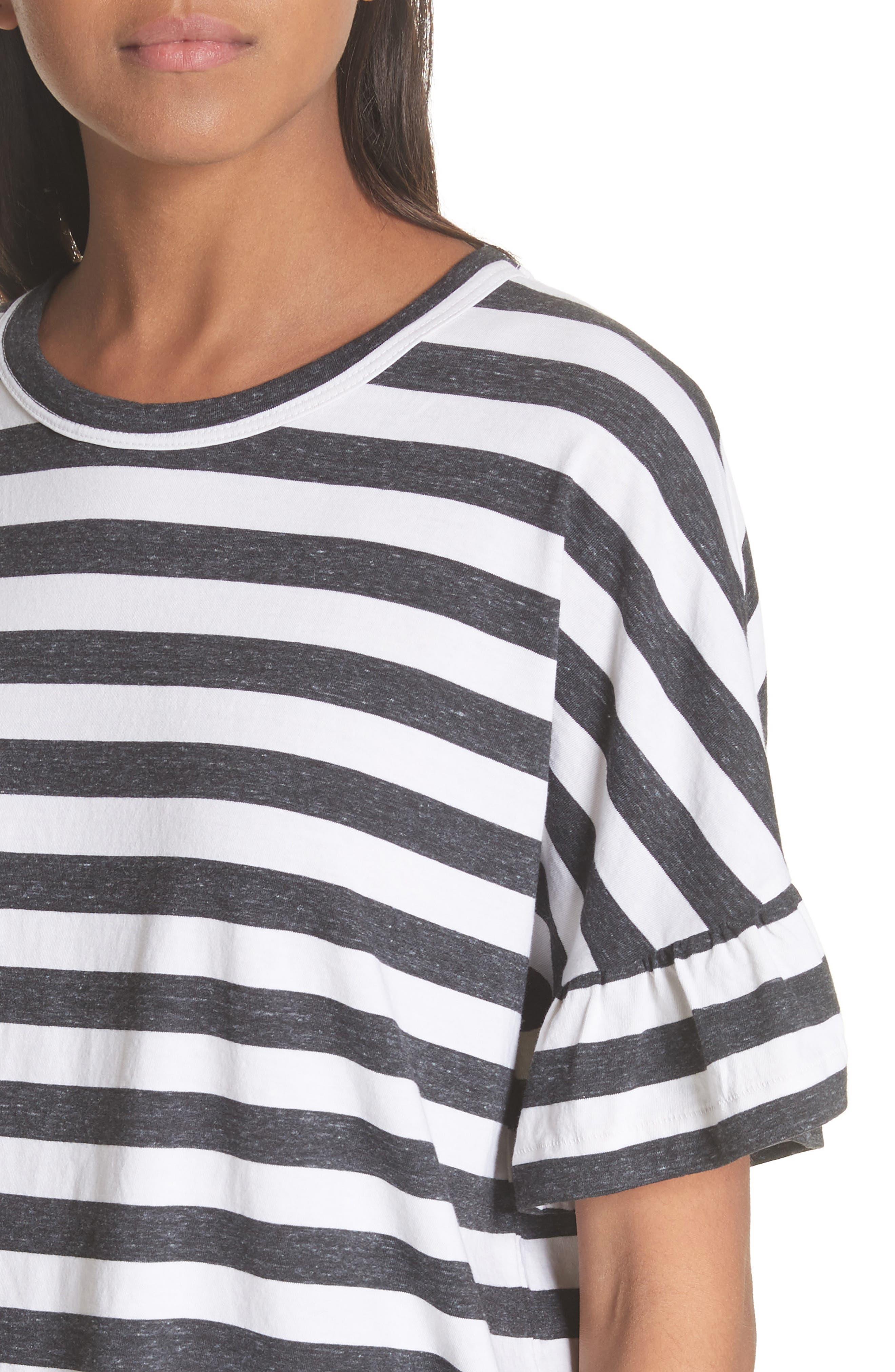 The Ruffle Stripe Tee,                             Alternate thumbnail 4, color,                             Charcoal Stripe