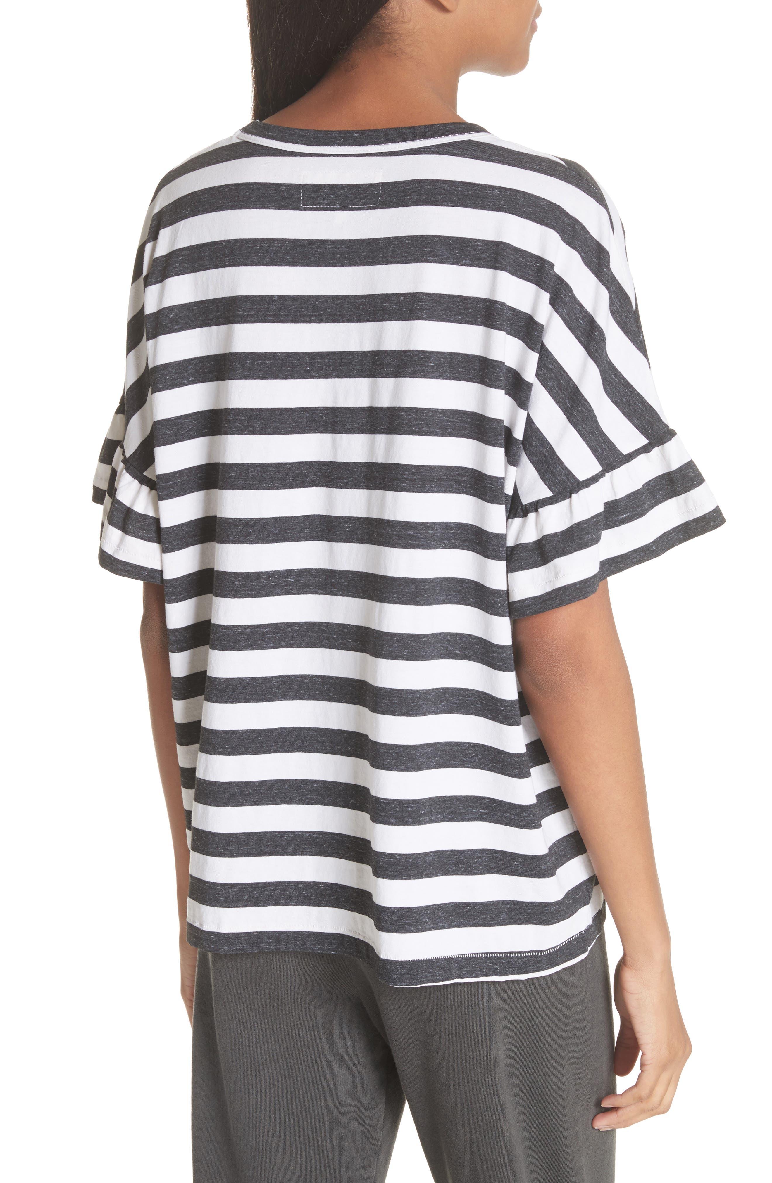 The Ruffle Stripe Tee,                             Alternate thumbnail 2, color,                             Charcoal Stripe