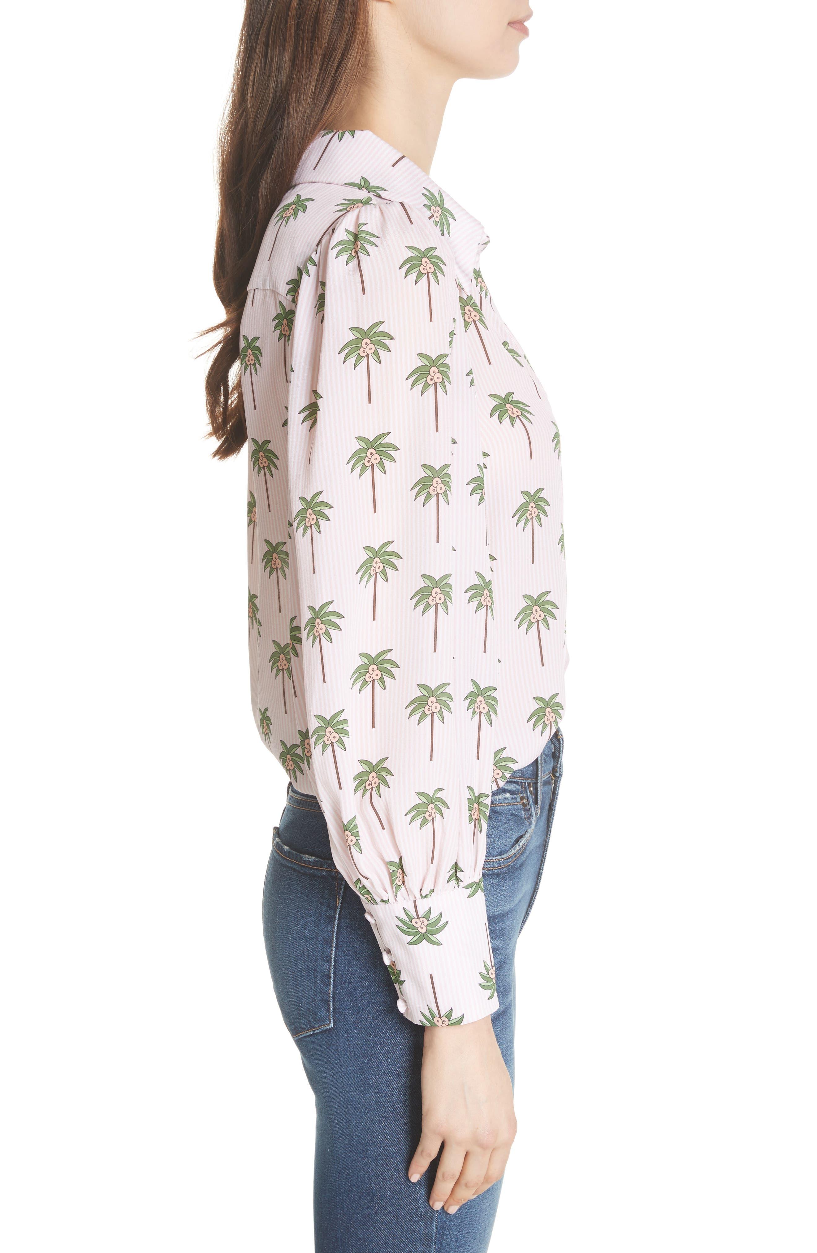 Salome Palm Print Silk Blouse,                             Alternate thumbnail 3, color,                             Mini Palm
