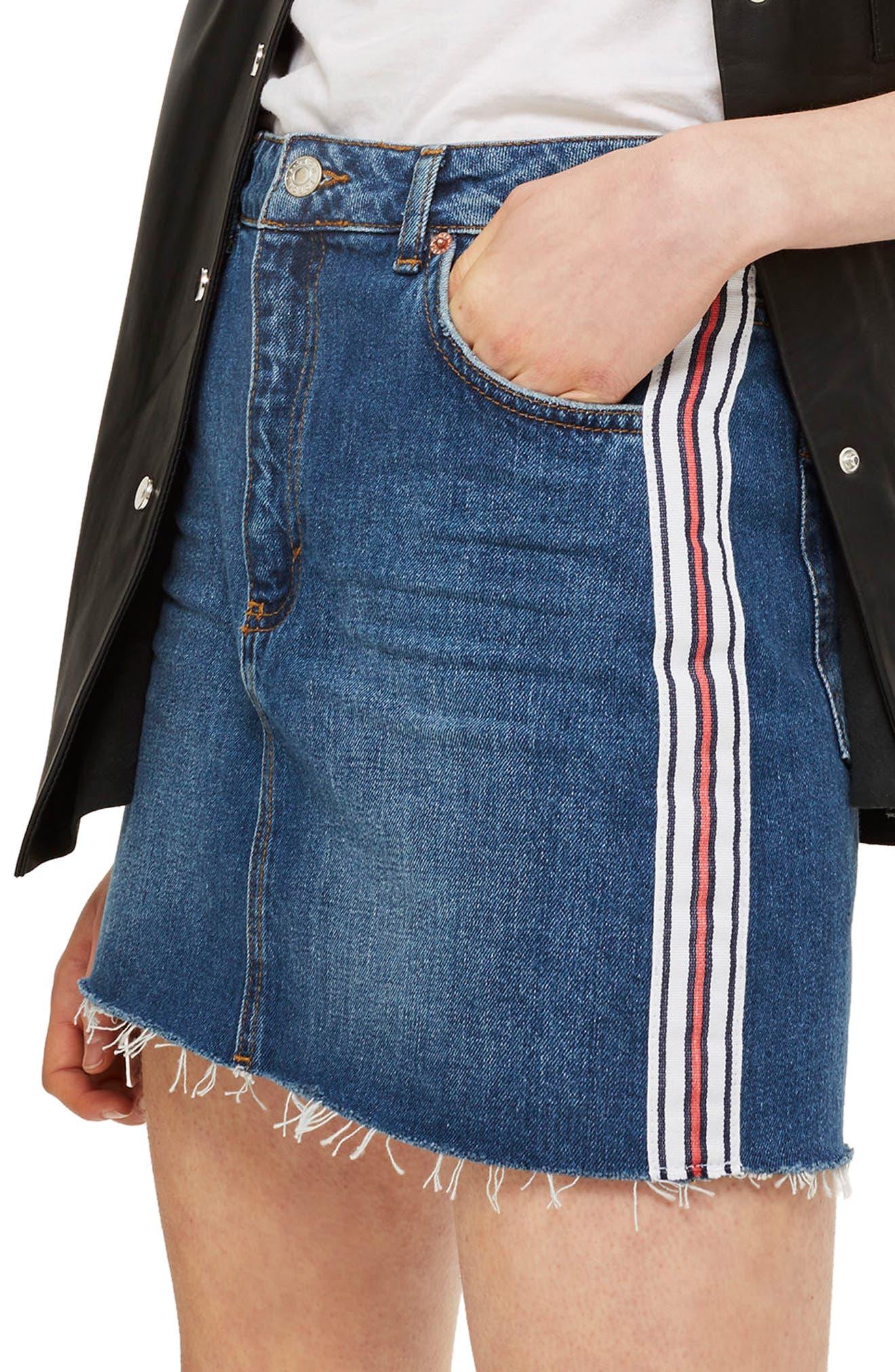 Varsity Stripe Denim Miniskirt,                             Main thumbnail 1, color,                             Mid Denim