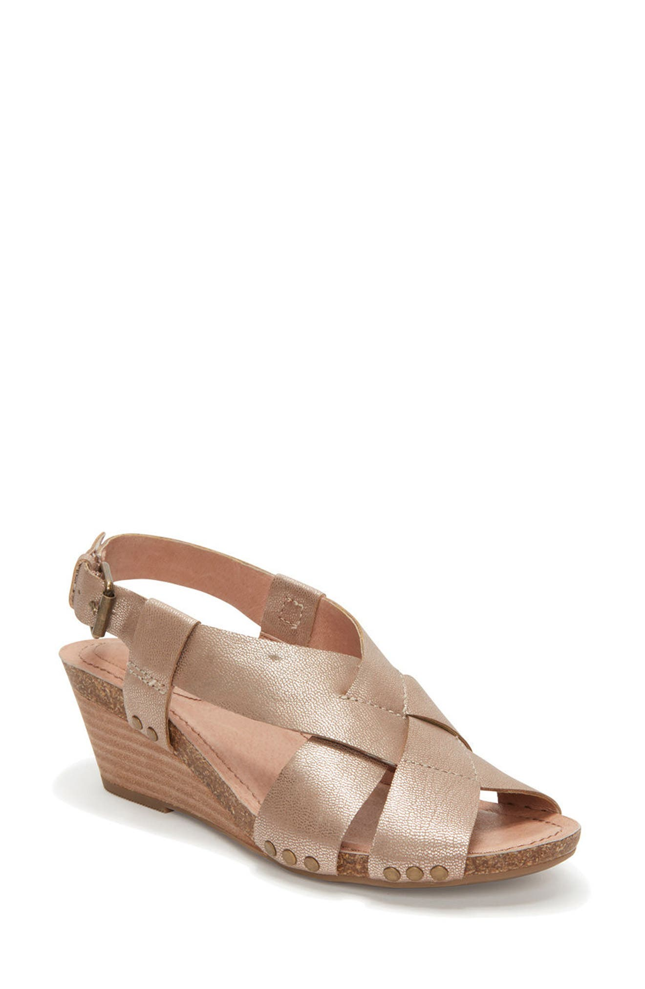 Adam Tucker Tarin Wedge Sandal,                         Main,                         color, Champagne Leather