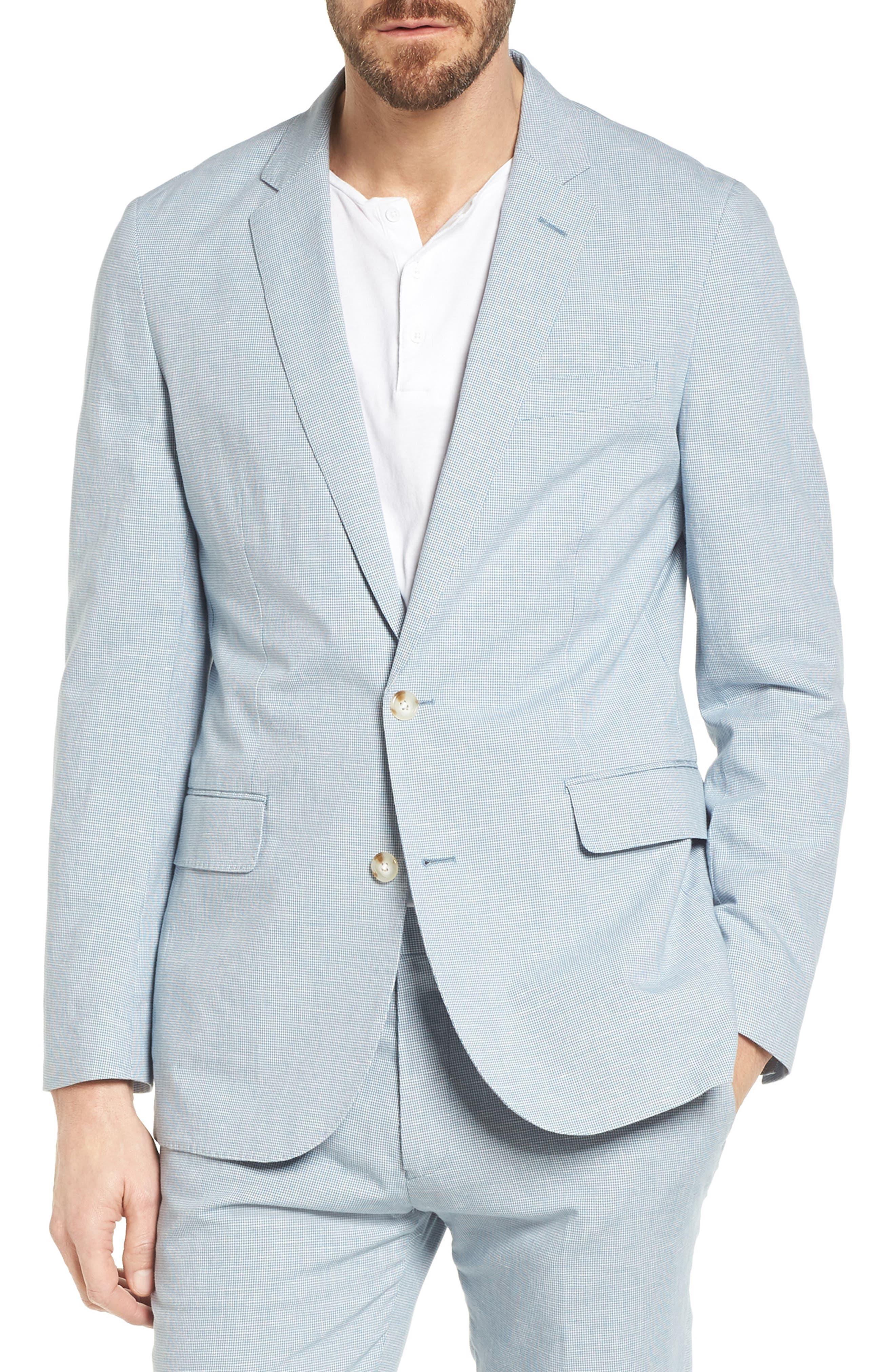 Ludlow Houndstooth Cotton & Linen Sport Coat,                         Main,                         color, Light Blue