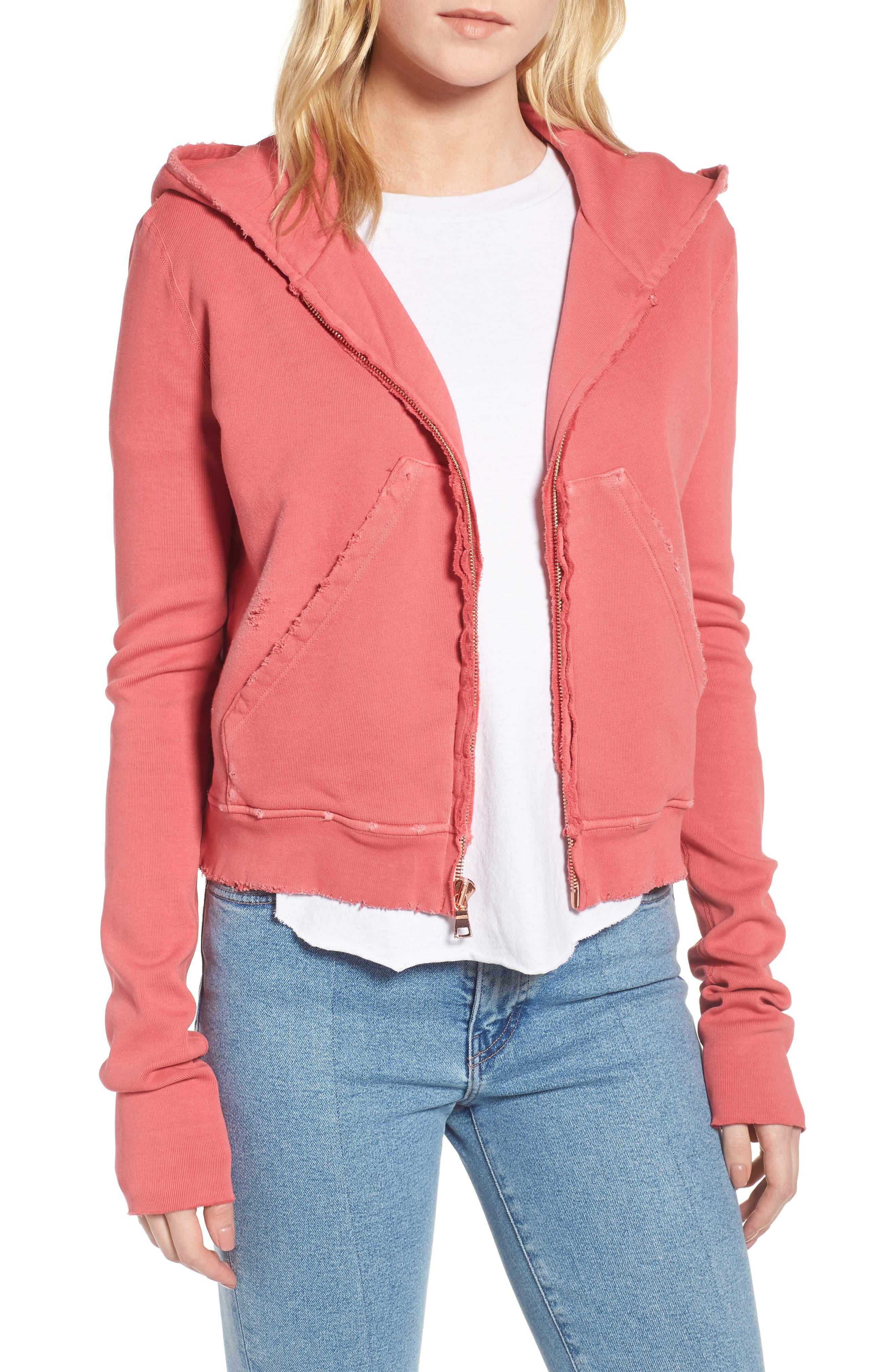 Zip Hoodie,                         Main,                         color, Vintage Red
