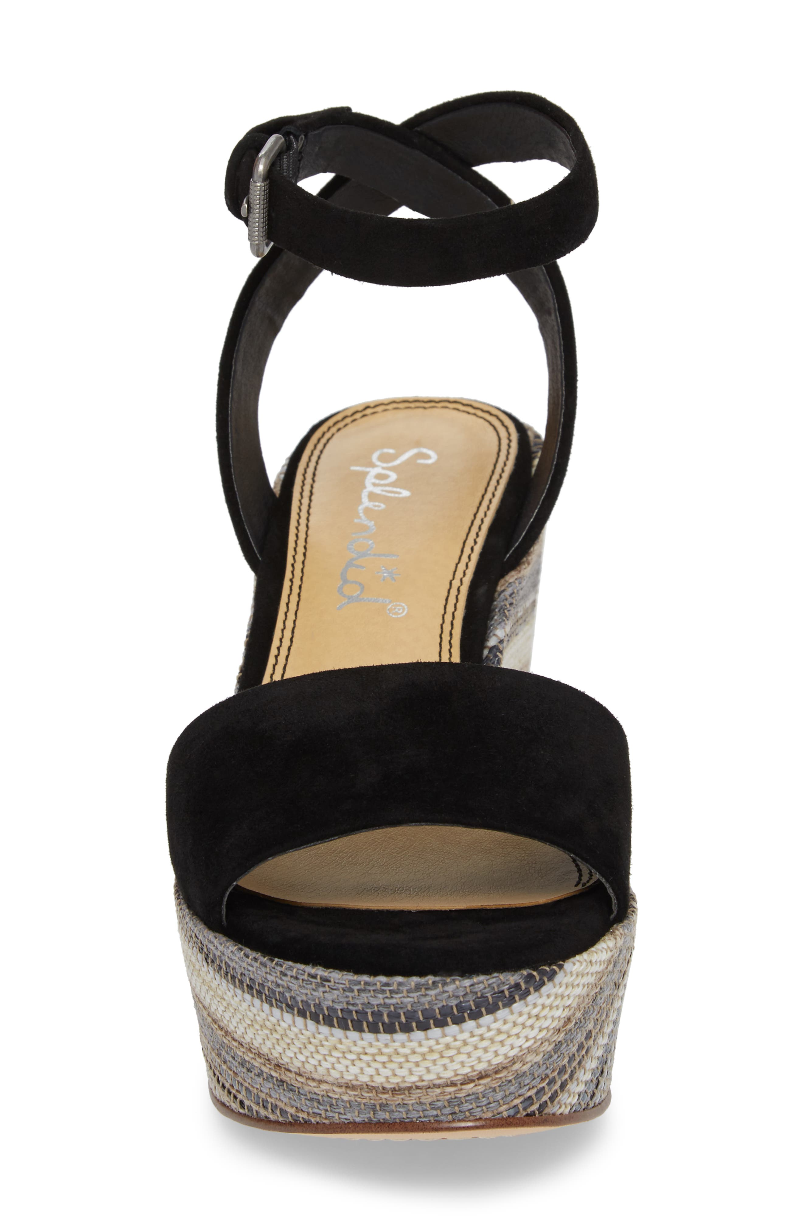 Felix Platform Wedge Sandal,                             Alternate thumbnail 4, color,                             Black Multi Suede