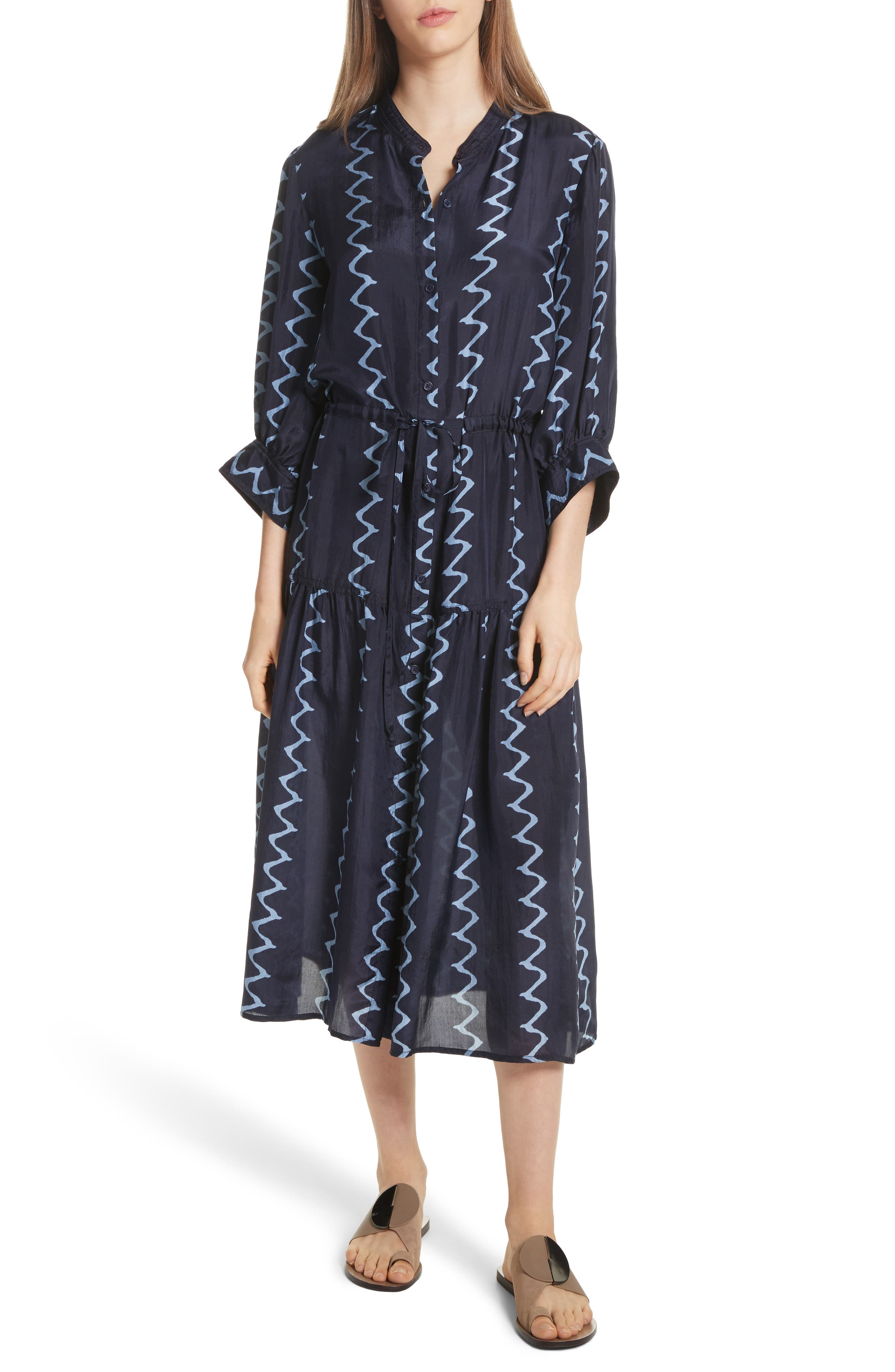 Dunegrass Silk Shirtdress,                         Main,                         color, Navy Berber