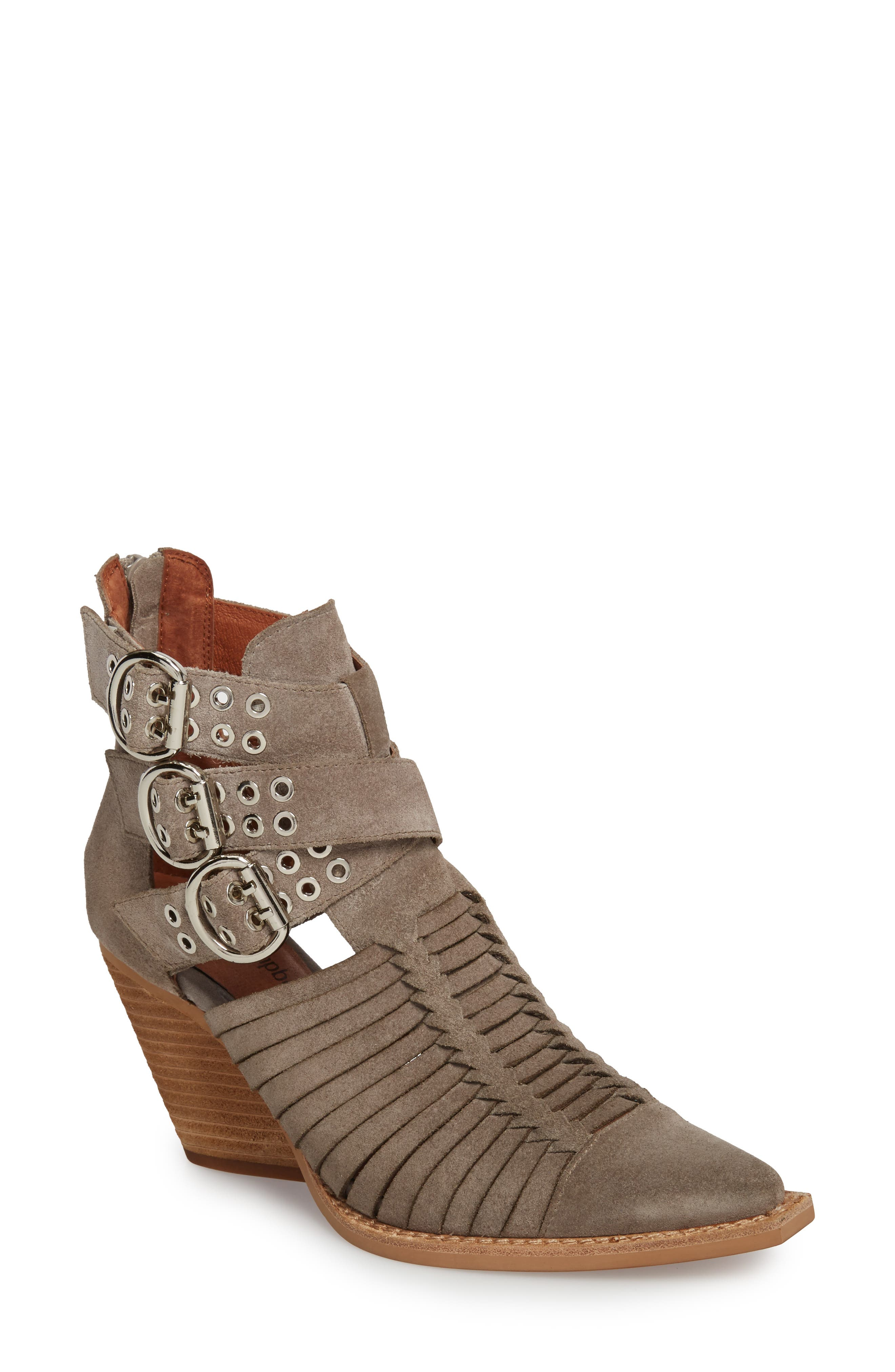 Jamison Bootie,                             Main thumbnail 1, color,                             Taupe Oiled Suede