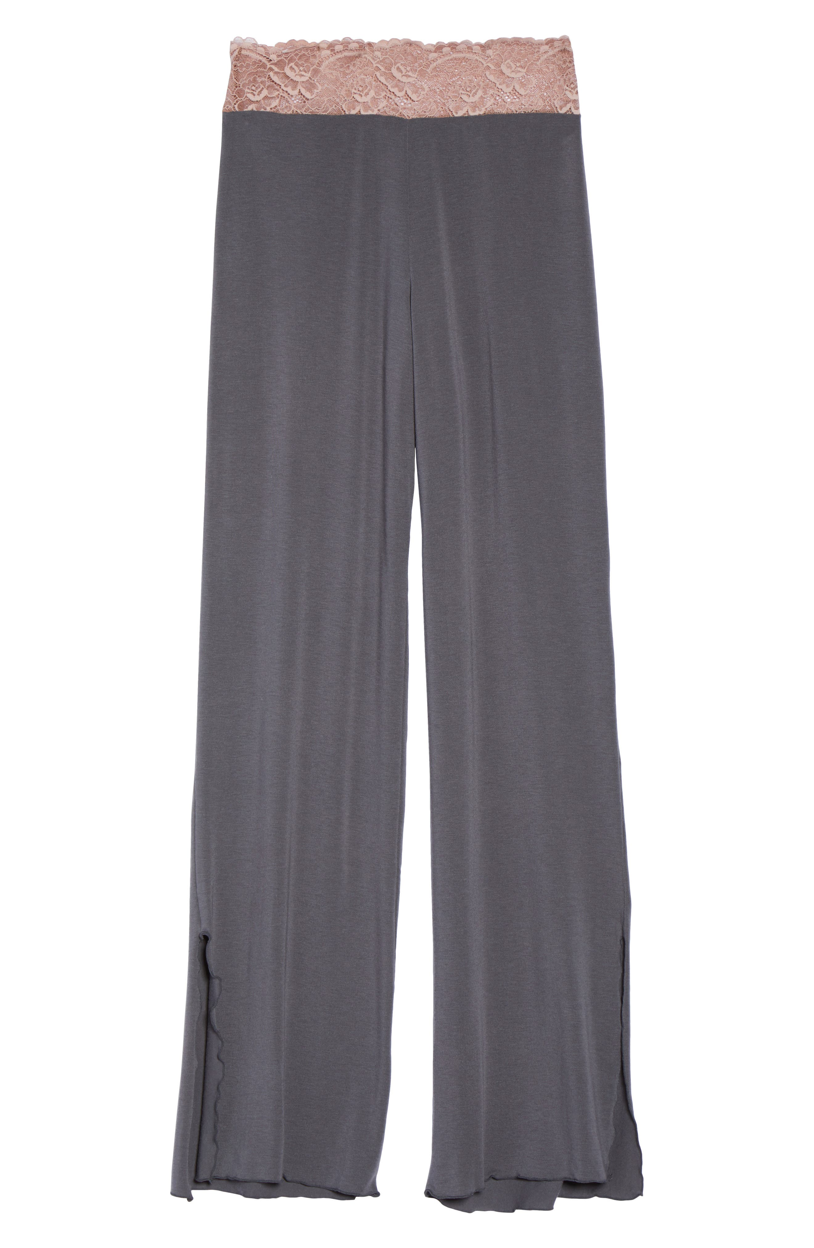 Lace Trim Pants,                             Alternate thumbnail 4, color,                             Slate With Java Lace