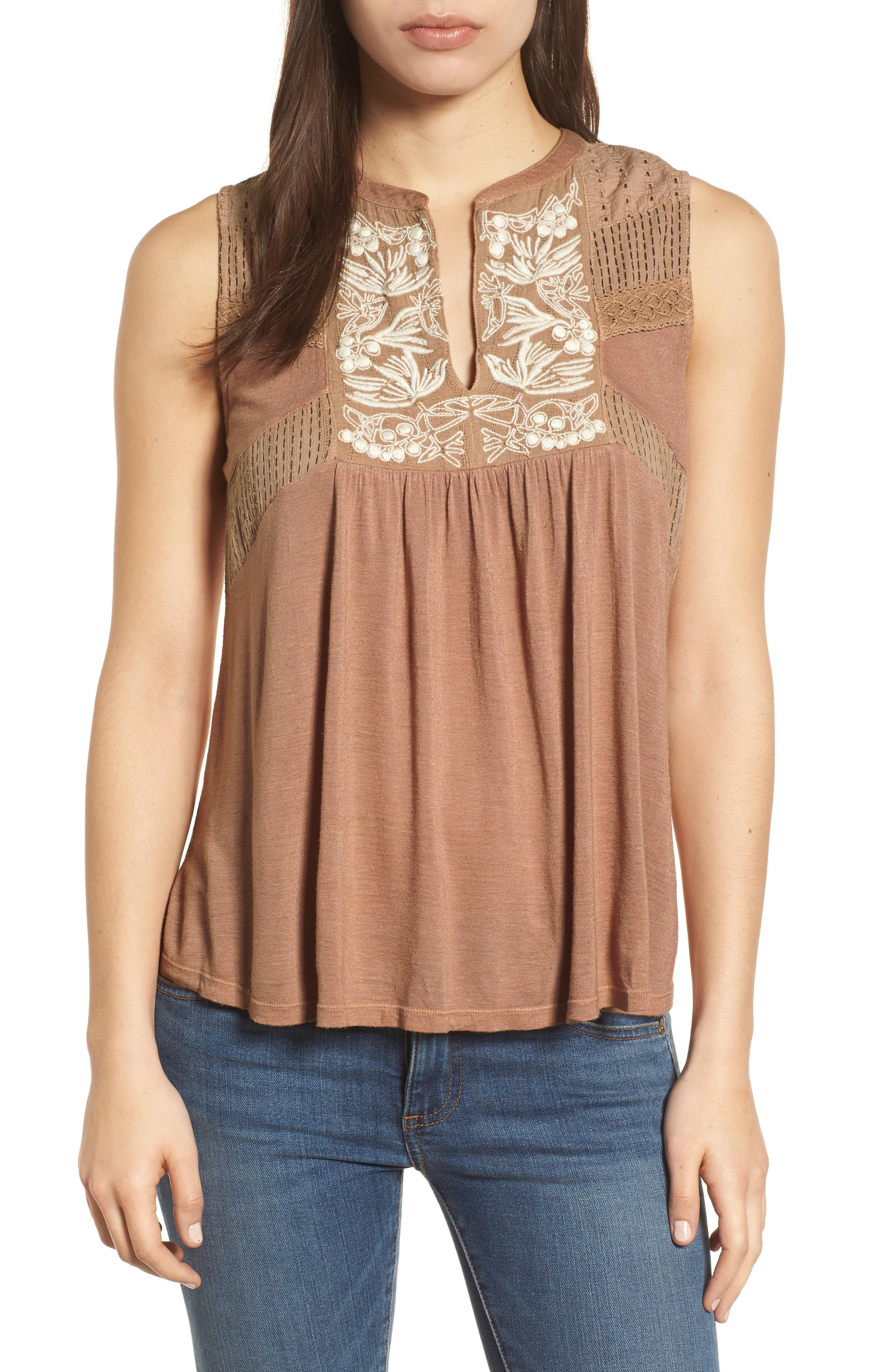 Embroidered Shell,                         Main,                         color, Toffee Blush