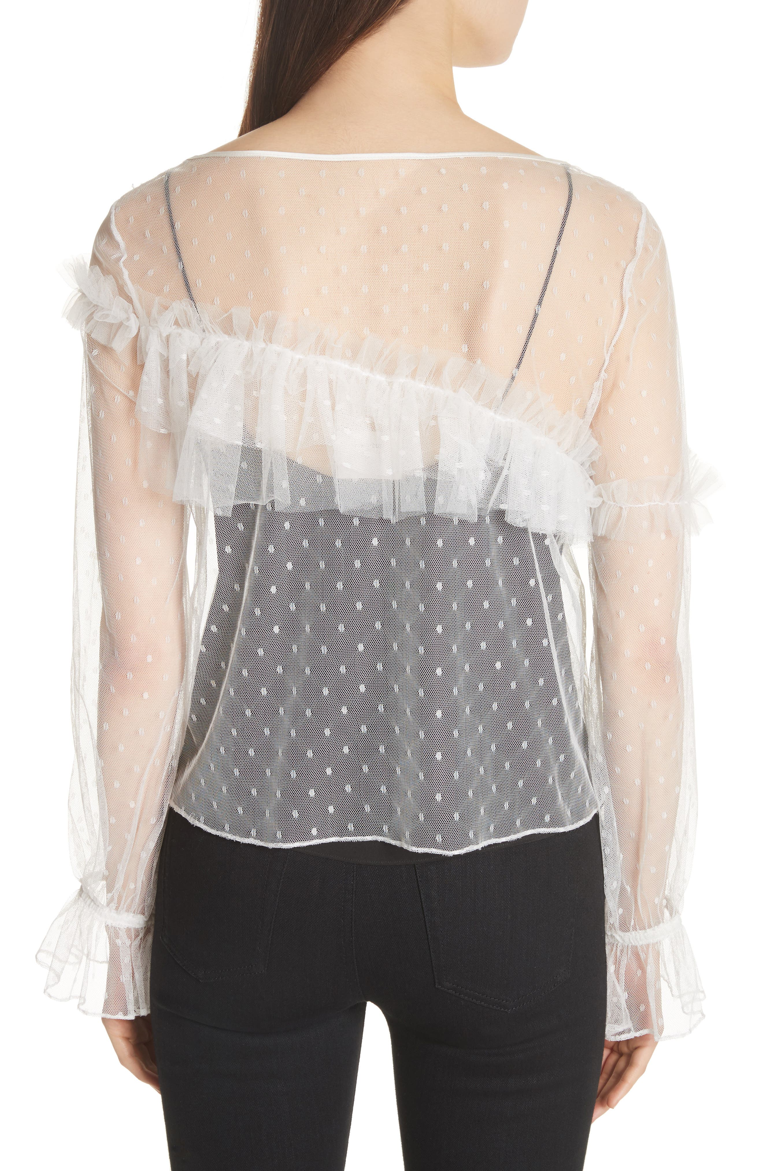 Indio Layered Swiss Dot Top,                             Alternate thumbnail 2, color,                             Ivory
