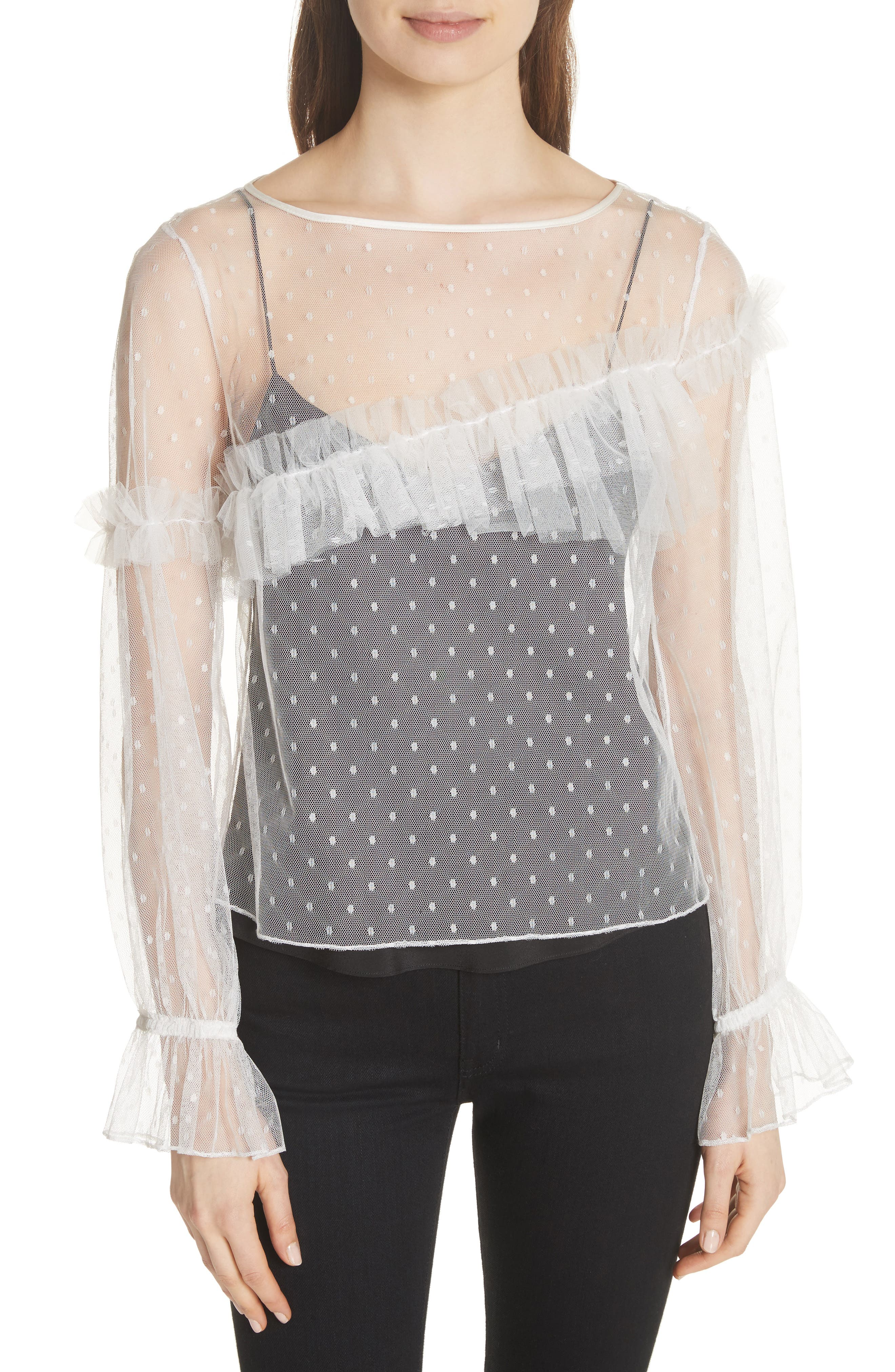 Indio Layered Swiss Dot Top,                         Main,                         color, Ivory