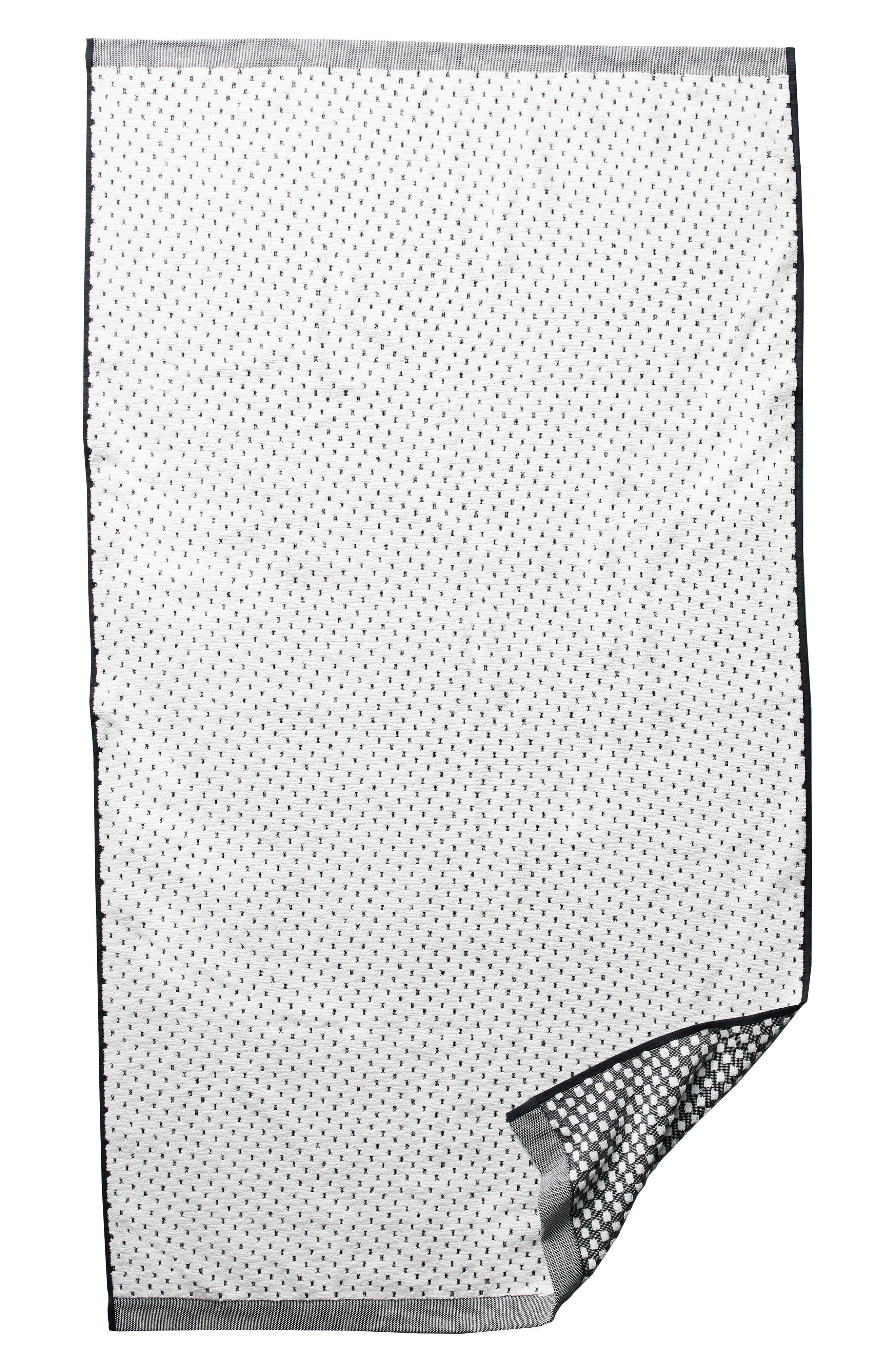 Dot Jacquard Bath Towel,                             Alternate thumbnail 4, color,                             Black