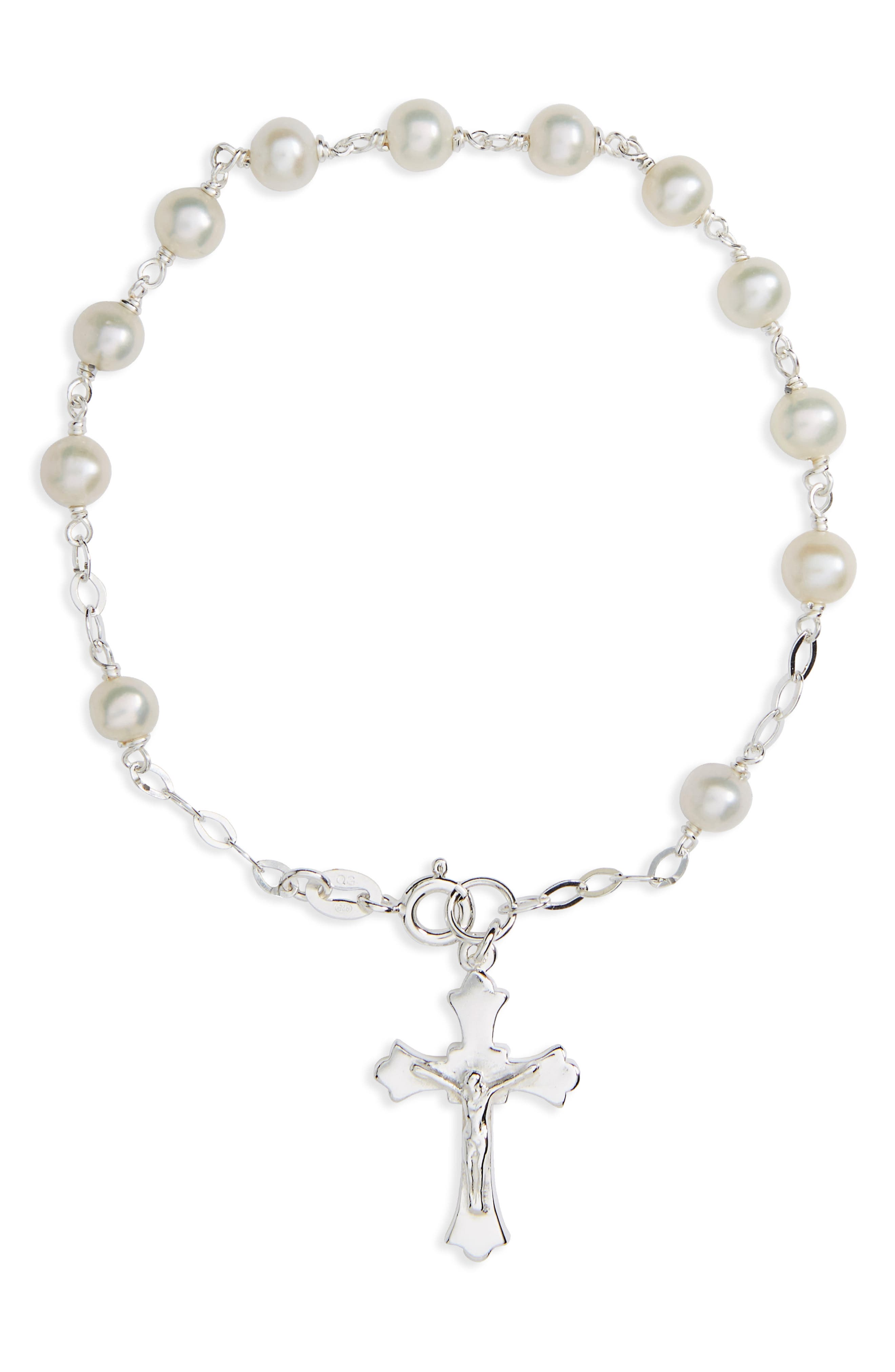 Kardee Kids Sterling Silver & Cultured Pearl Rosary,                         Main,                         color, Silver And White
