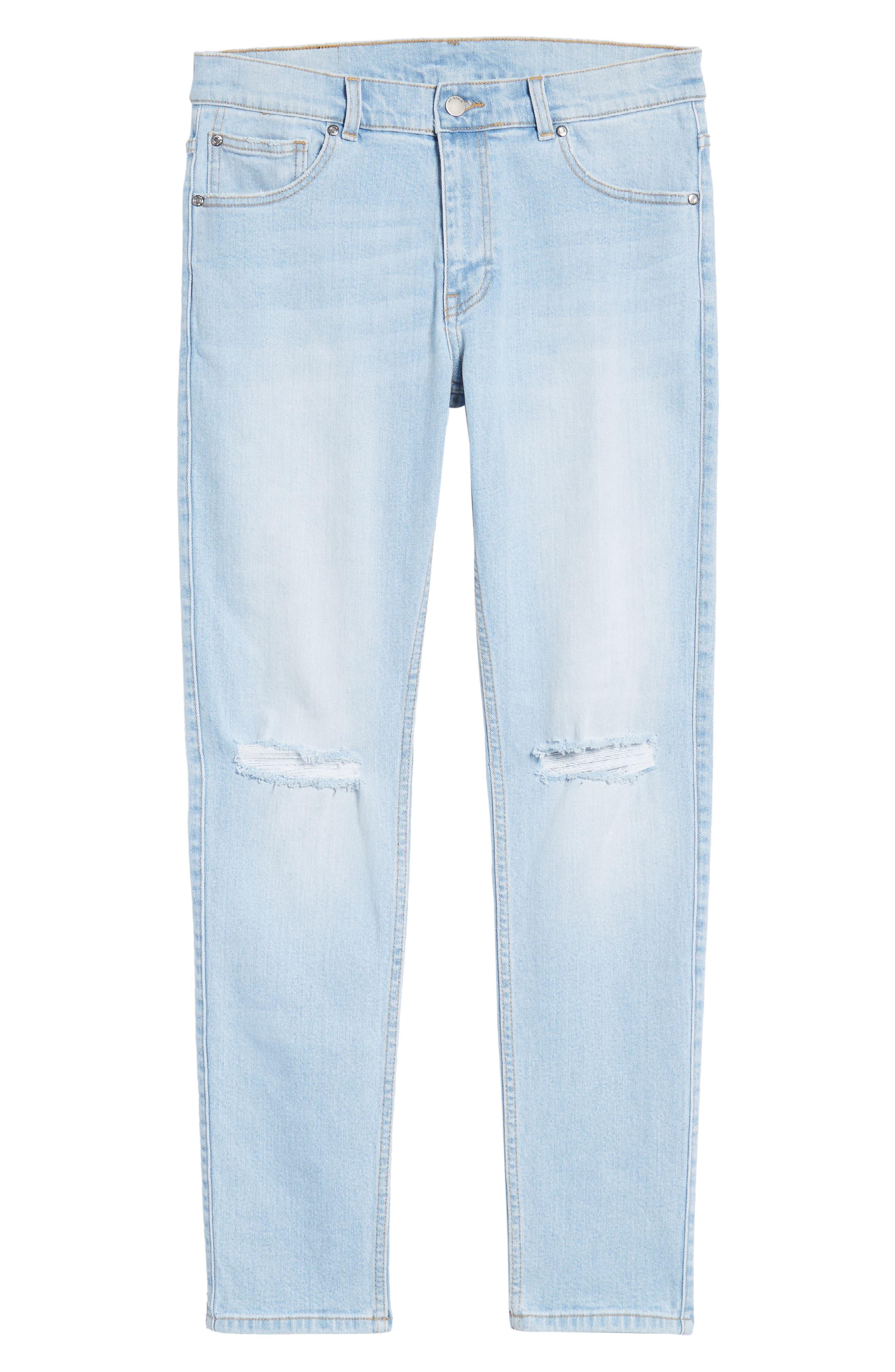 Clark Slim Straight Leg Jeans,                             Alternate thumbnail 6, color,                             Superlight Blue Ripped