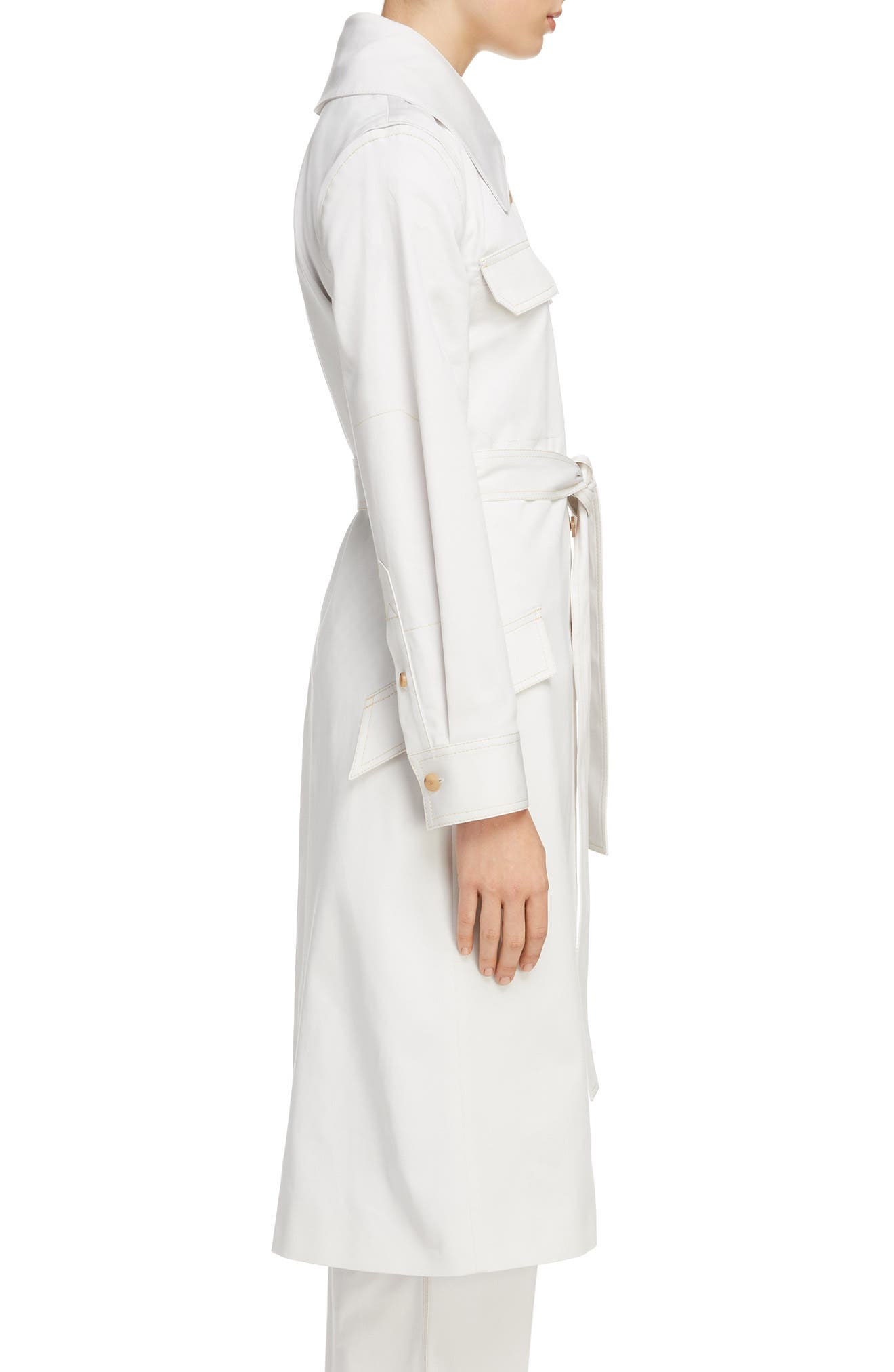 Olesia Removable Sleeve Belted Coat,                             Alternate thumbnail 3, color,                             Dirty White