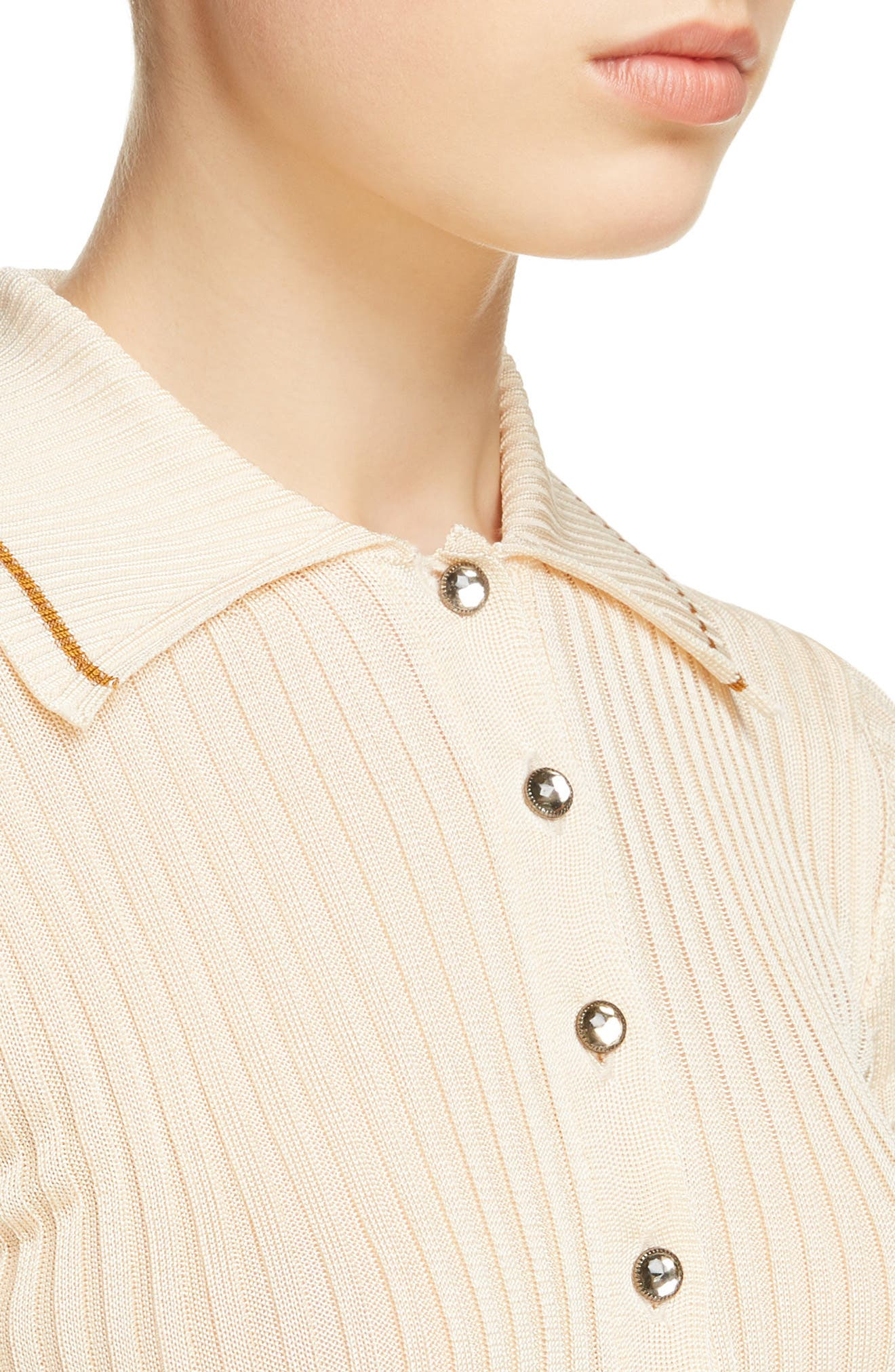 Shanita Lingerie Crop Polo Sweater,                             Alternate thumbnail 4, color,                             Ivory White/ Tobacco Stripe