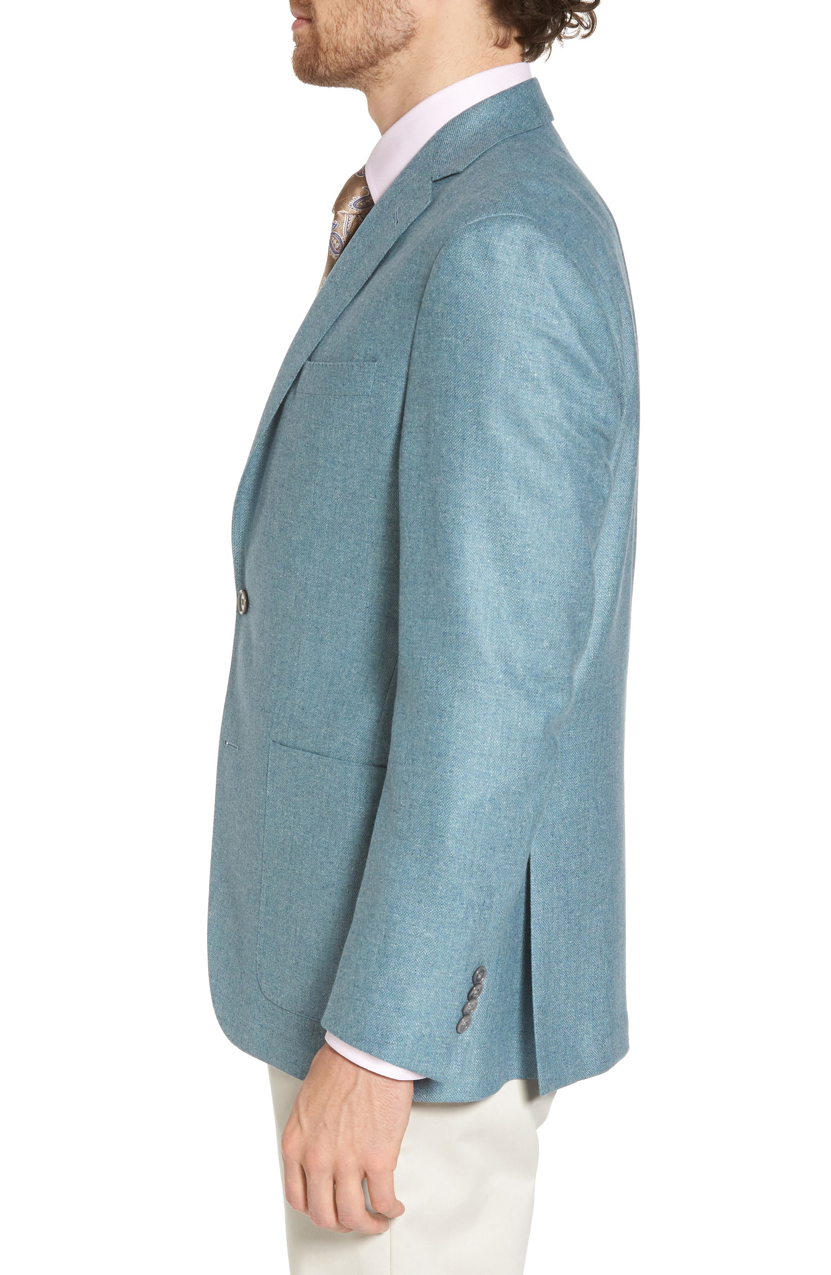 Aiden Classic Fit Silk & Wool Blazer,                             Alternate thumbnail 3, color,                             Teal