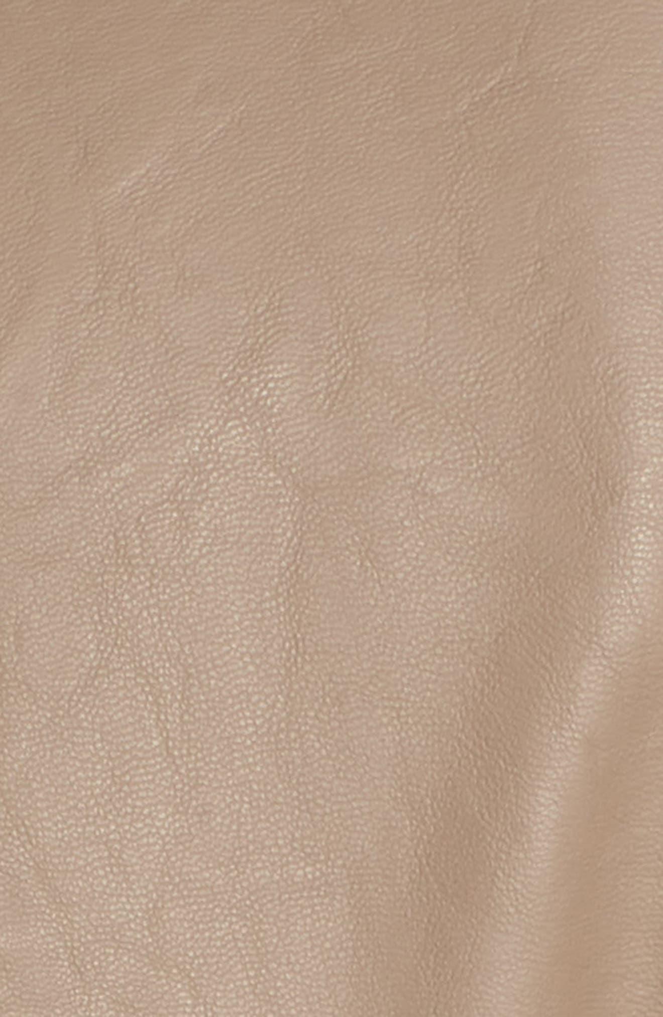 Faux Leather Moto Jacket,                             Alternate thumbnail 6, color,                             Sand Stoner
