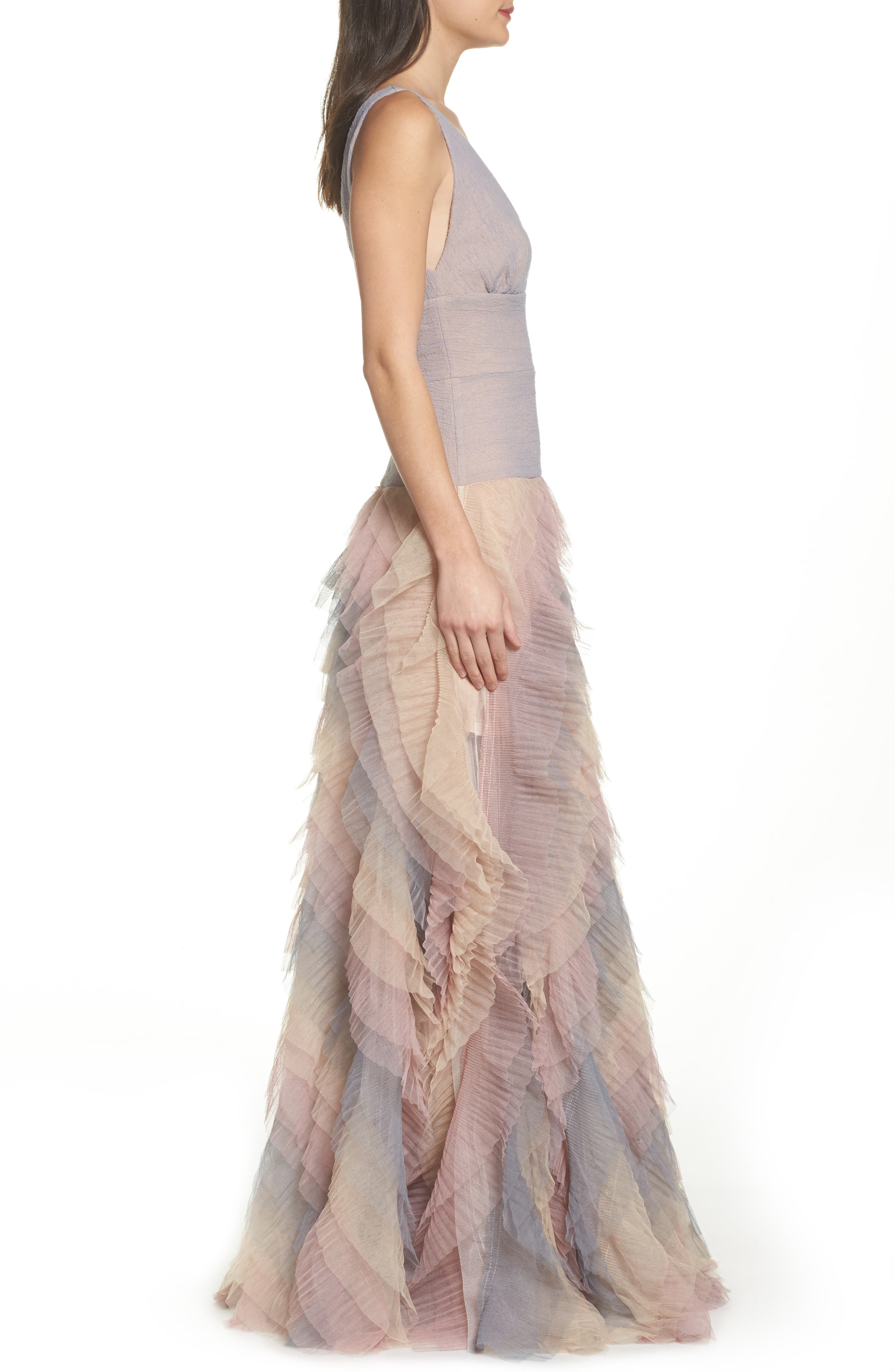 Amelia Tier Ruffle Gown,                             Alternate thumbnail 3, color,                             Multicolor