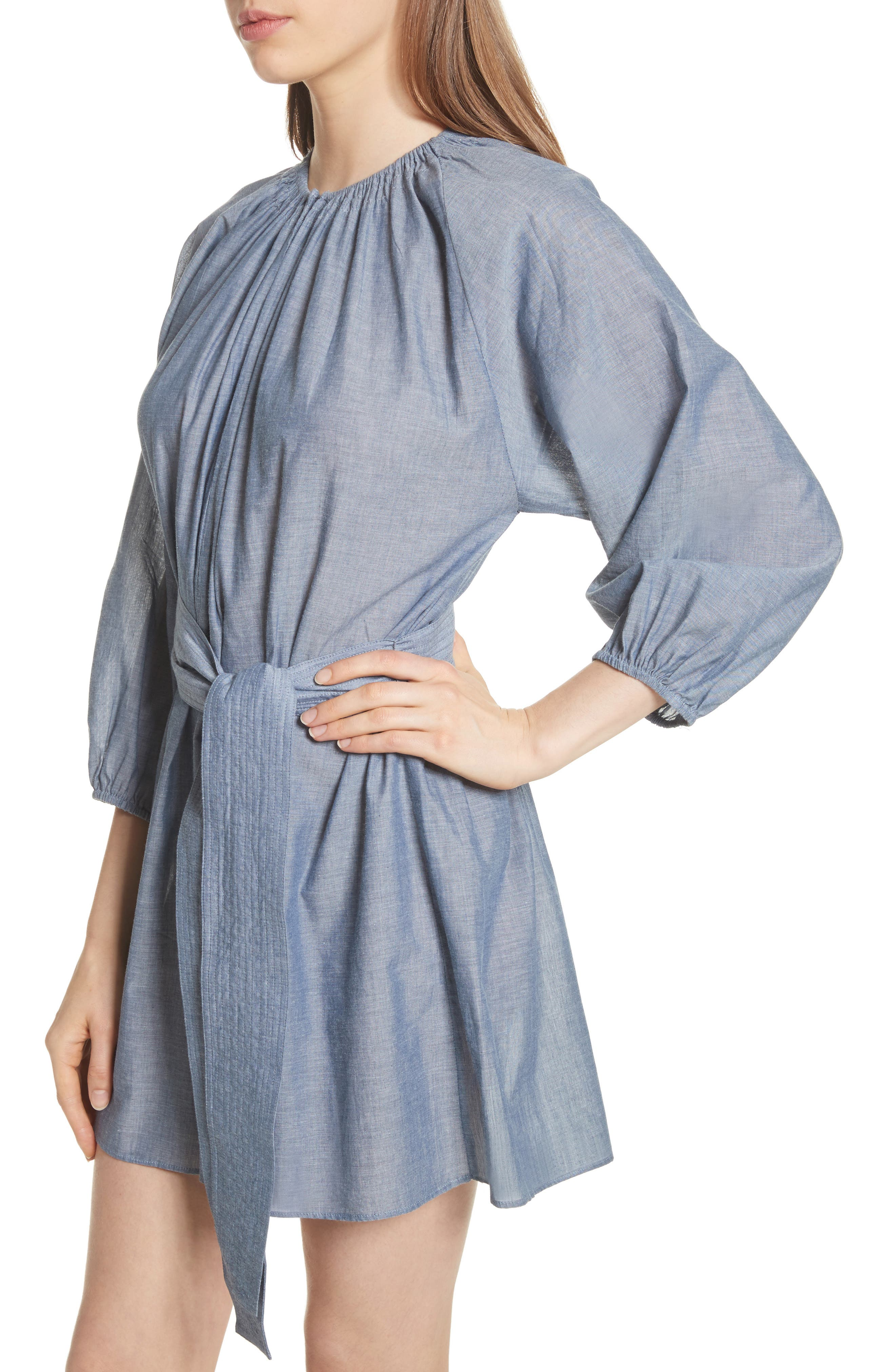 Isla Chambray Tie Waist Romper,                             Alternate thumbnail 4, color,                             Chambray
