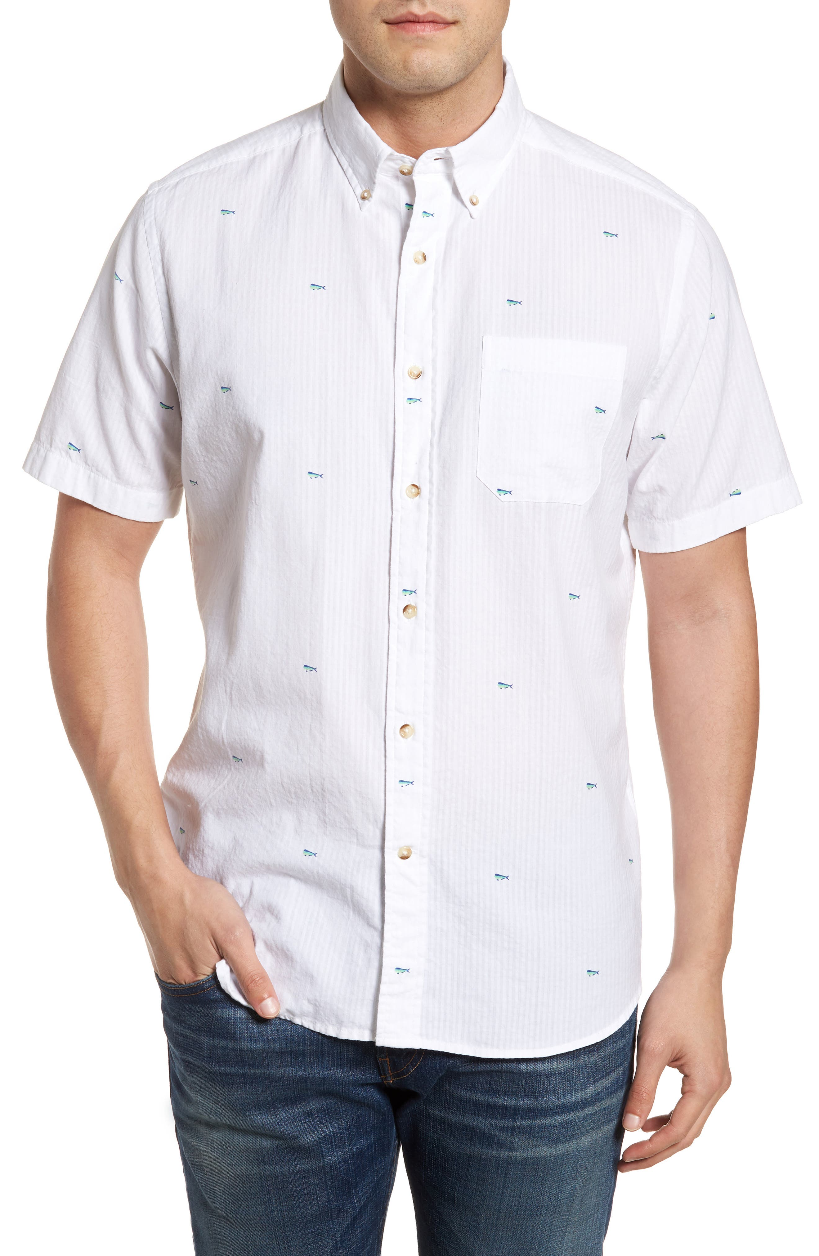 Catch of the Day Sport Shirt,                         Main,                         color, Classic White