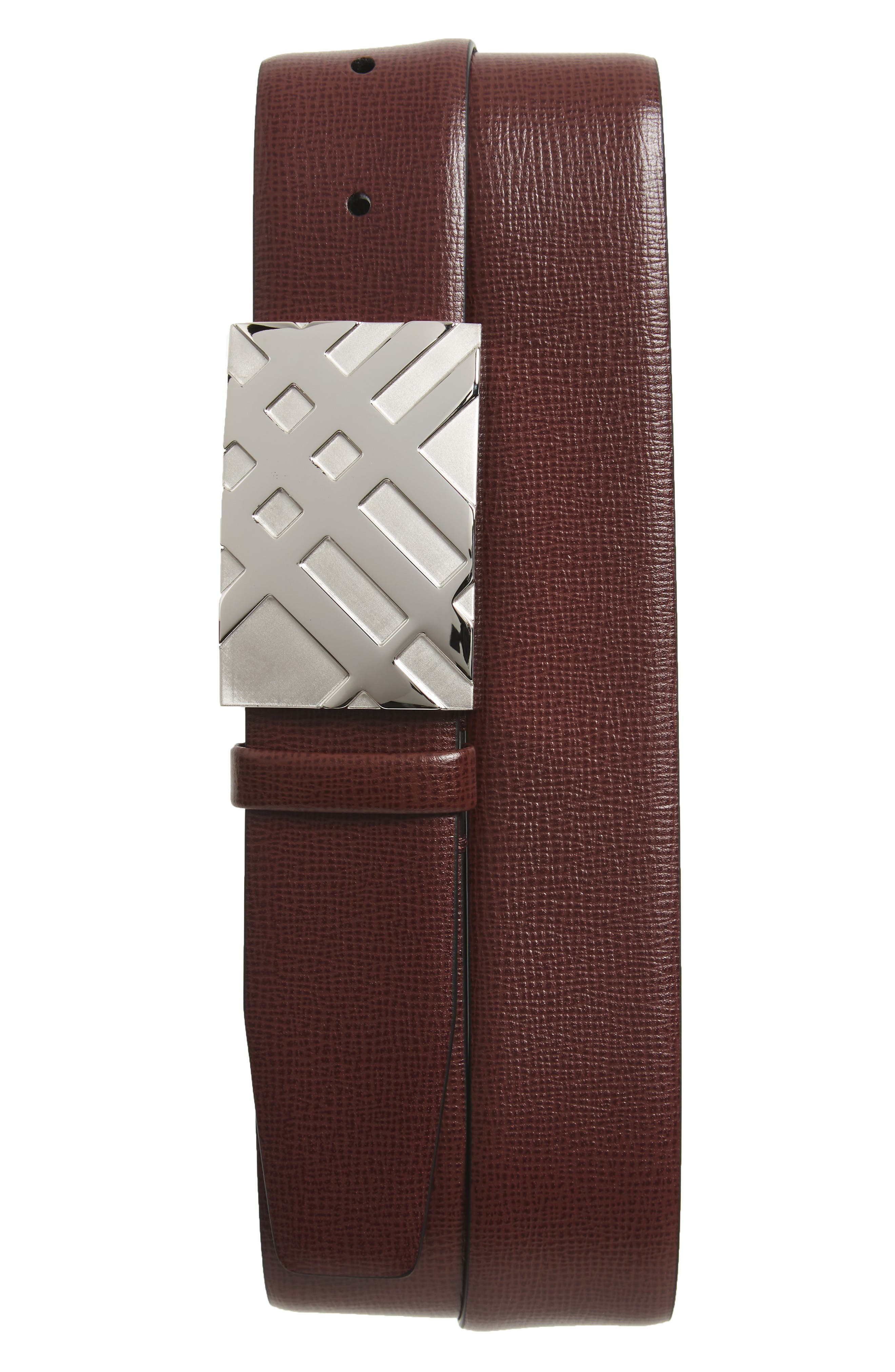 Dean Leather Belt,                             Main thumbnail 1, color,                             Burgundy Red