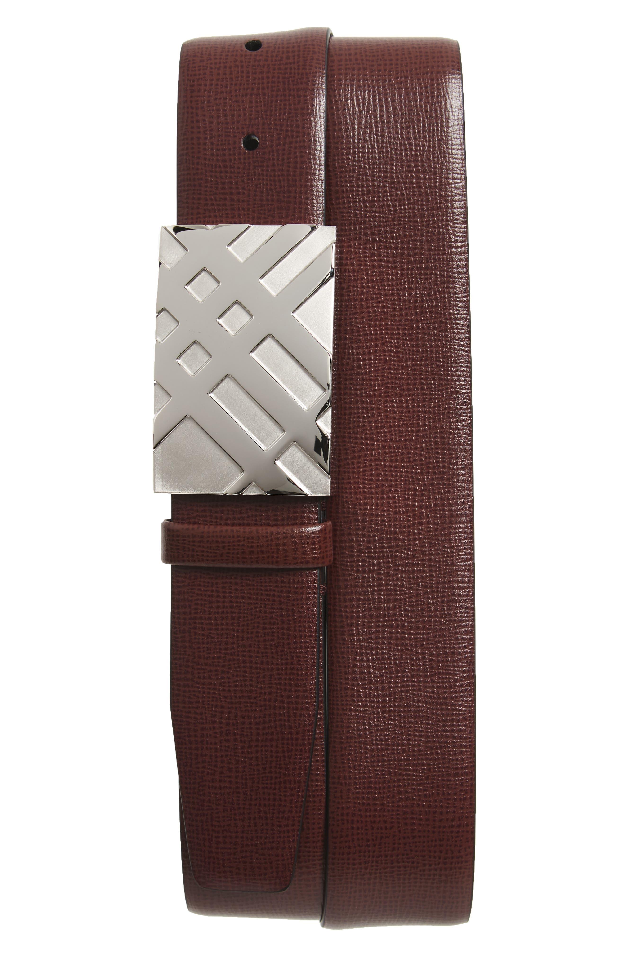 Dean Leather Belt,                         Main,                         color, Burgundy Red