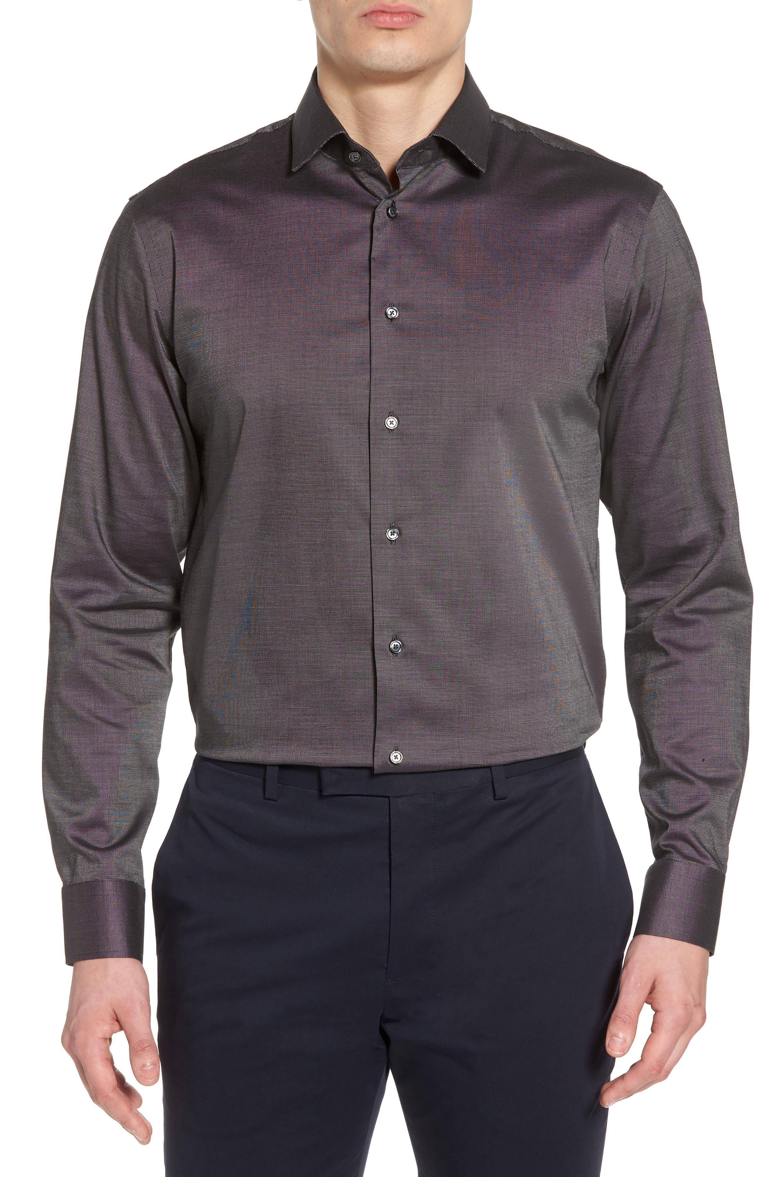 Trim Fit Stretch Solid Dress Shirt,                         Main,                         color, Black Jet