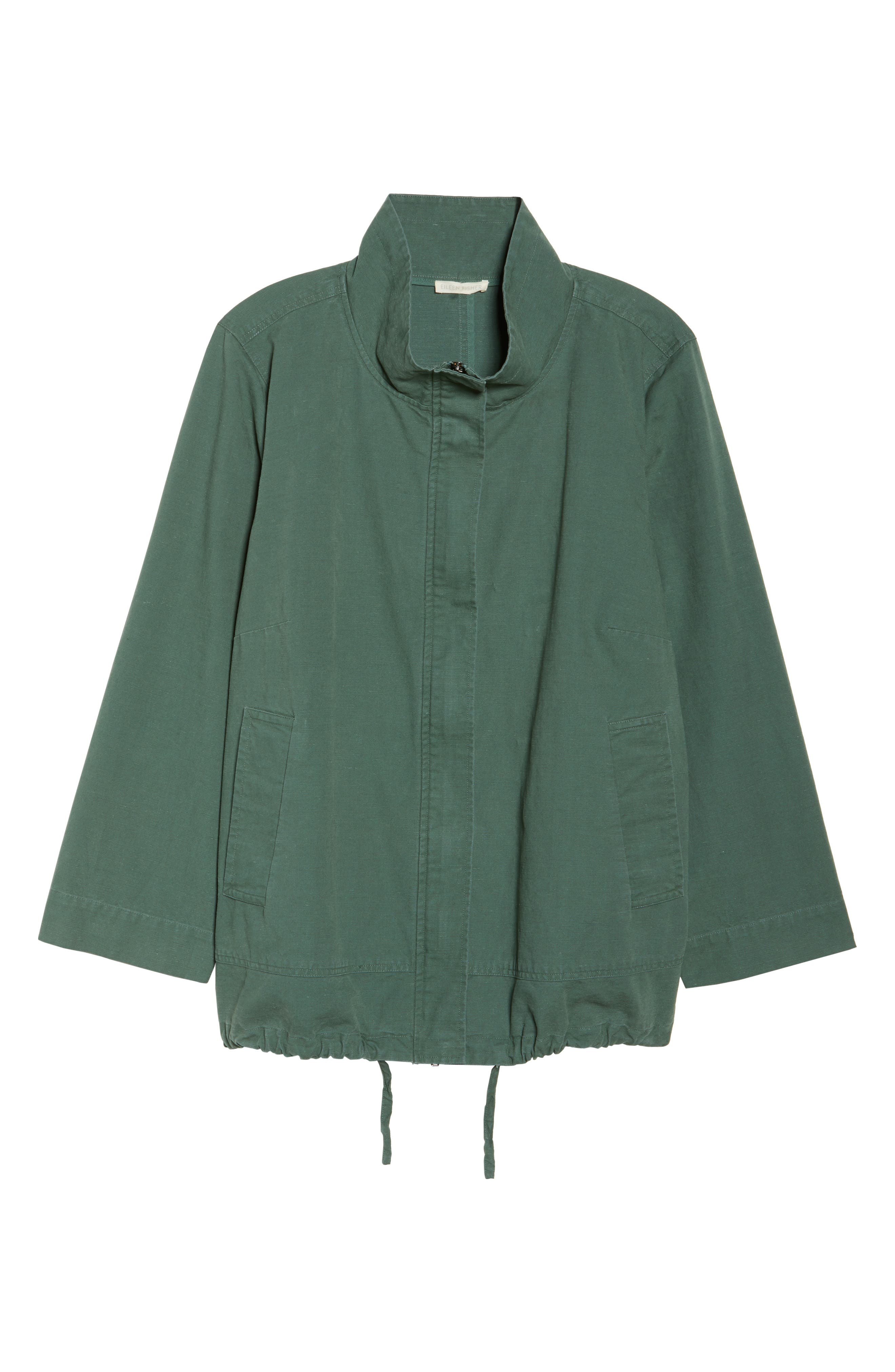 Stand Collar Jacket,                             Alternate thumbnail 6, color,                             Nori