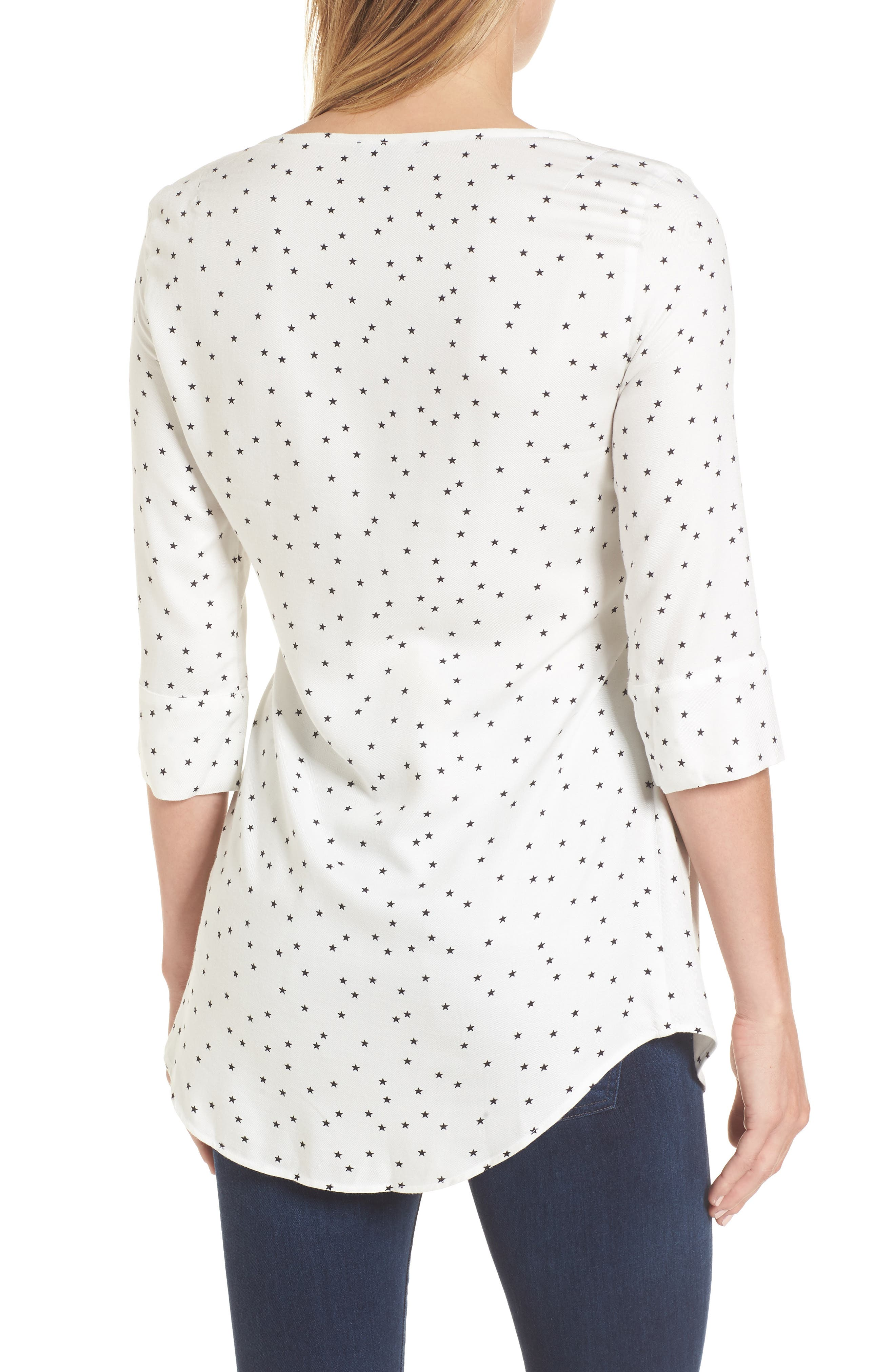 Selina Tie Front Maternity Top,                             Alternate thumbnail 2, color,                             Off White Star Print