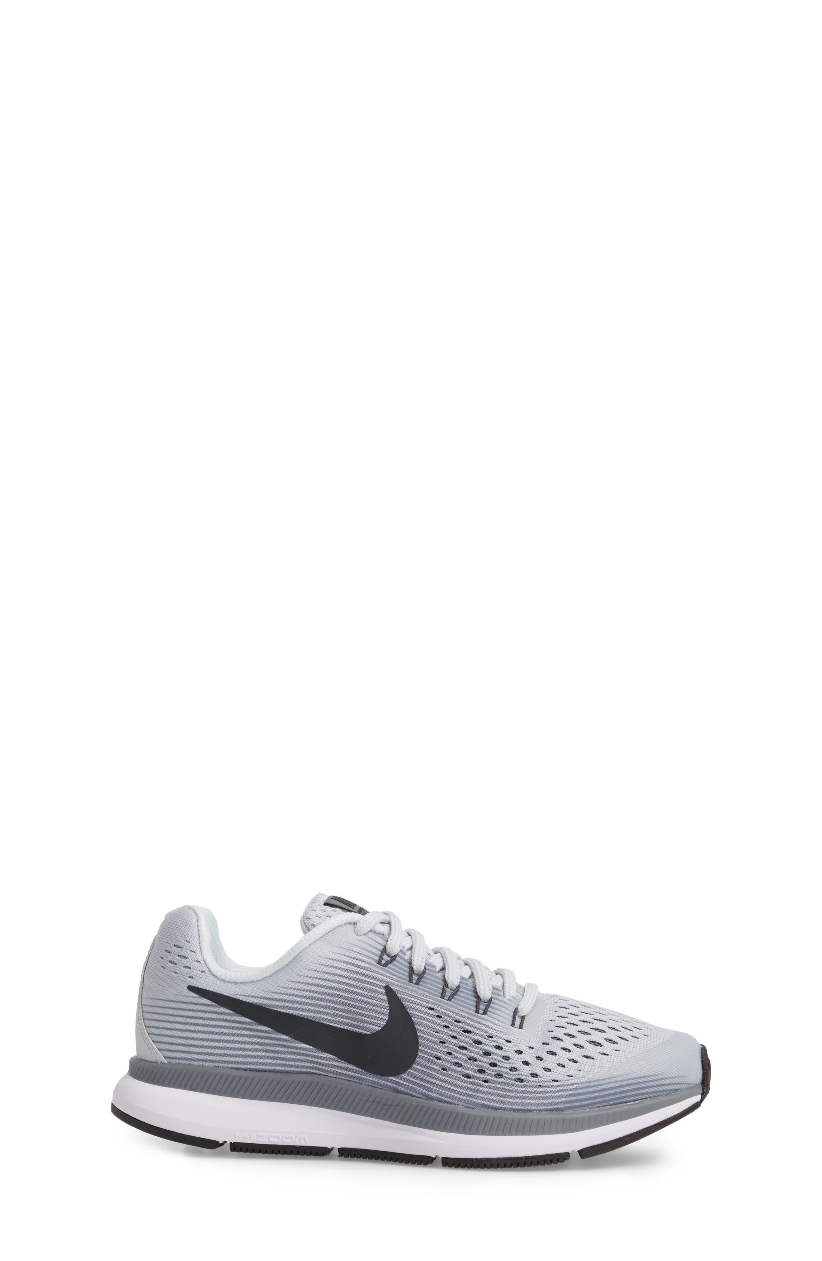 Zoom Pegasus 34 Sneaker,                             Alternate thumbnail 3, color,                             Platinum/ Anthracite/ Grey