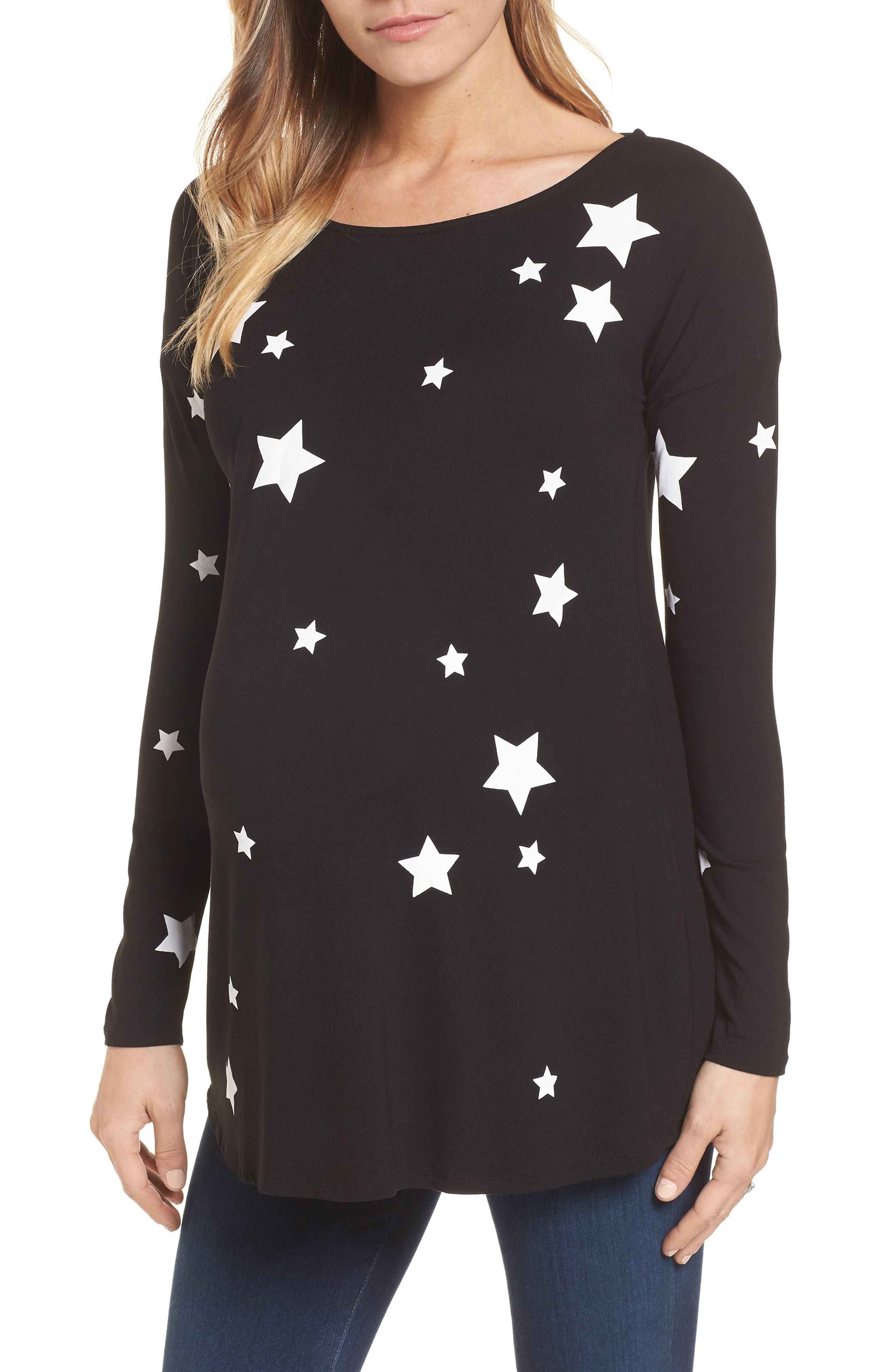 Rosie Maternity Tee,                             Main thumbnail 1, color,                             Black/White Stars