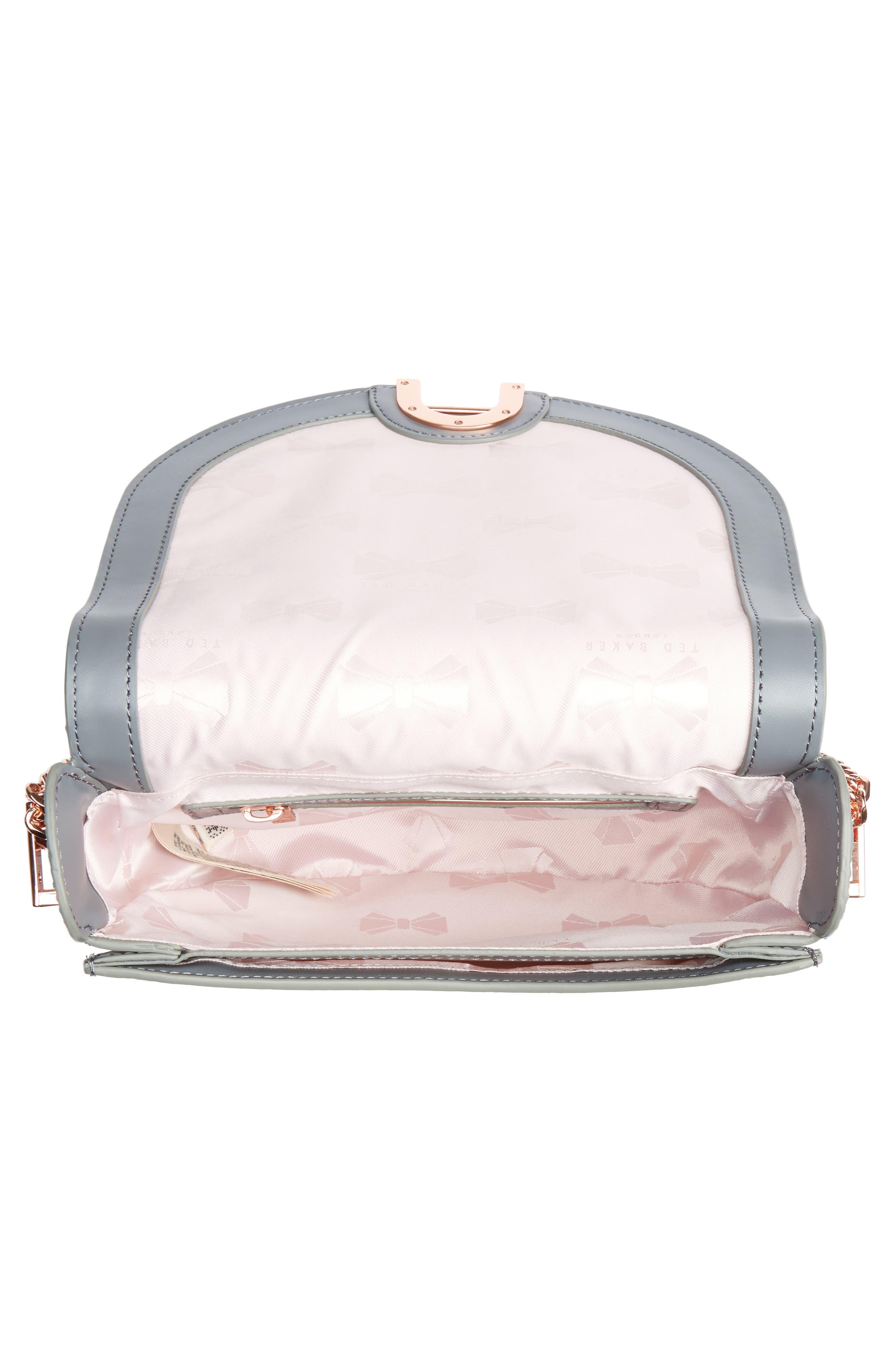 Half Moon Metallic Leather Crossbody Bag,                             Alternate thumbnail 4, color,                             Gunmetal