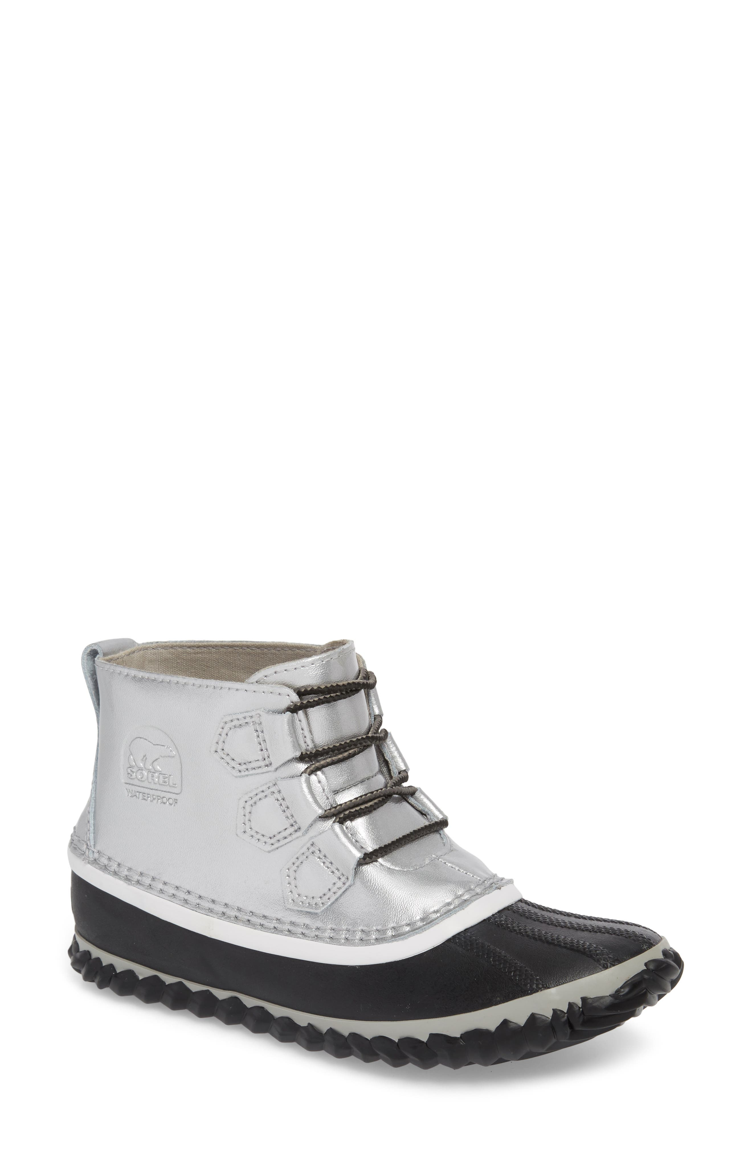 'Out N About' Leather Boot,                             Main thumbnail 1, color,                             Lux Black