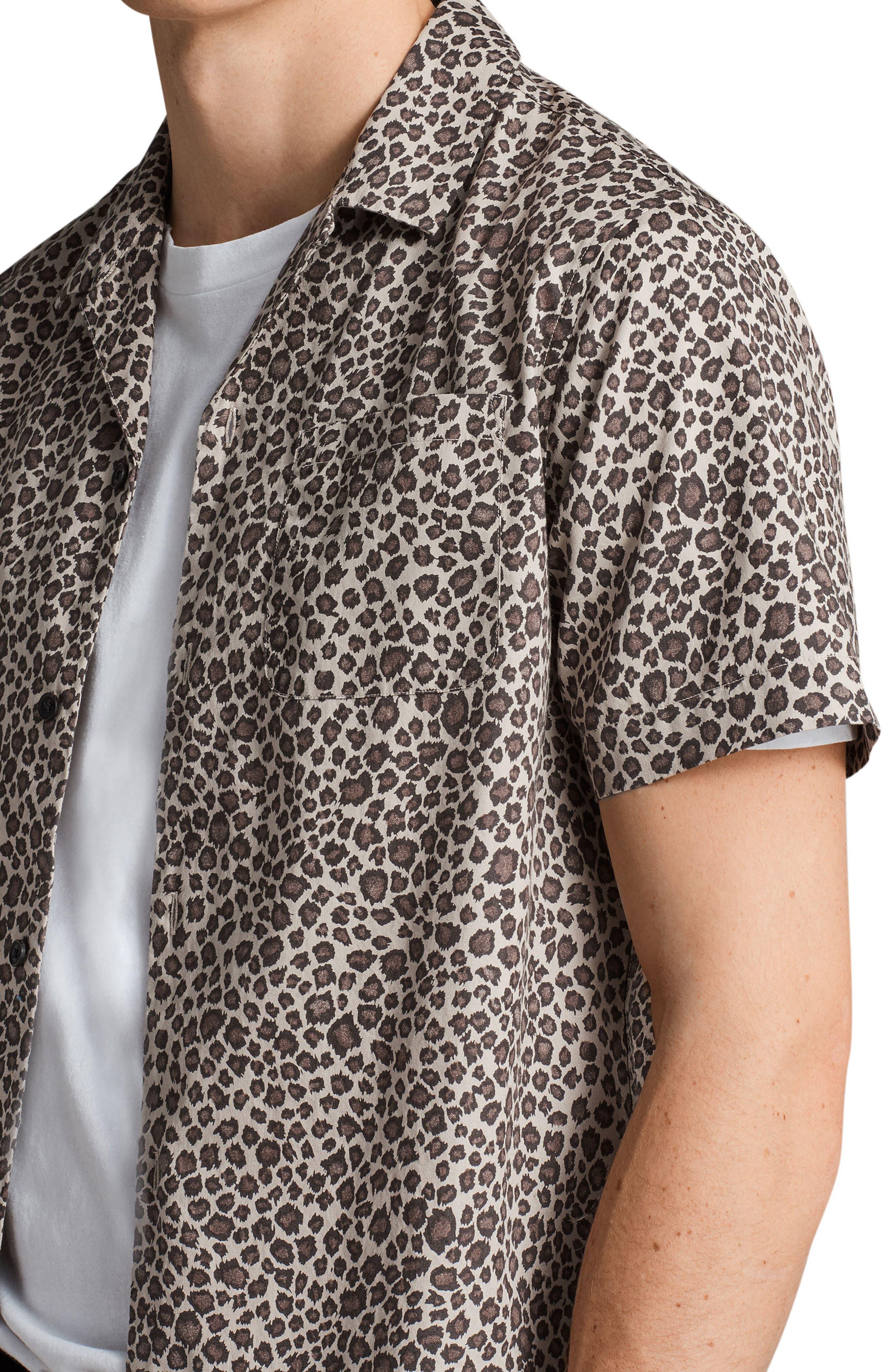 Apex Leopard Print Short Sleeve Sport Shirt,                             Alternate thumbnail 4, color,                             Light Brown